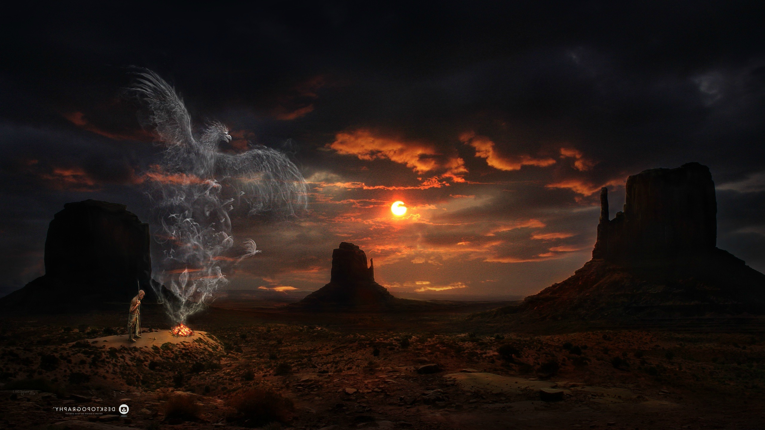 Res: 2560x1440, Desktopography, Sunset, Mountain, Western, Eagle, Digital Art, Clouds Wallpapers  HD / Desktop and Mobile Backgrounds