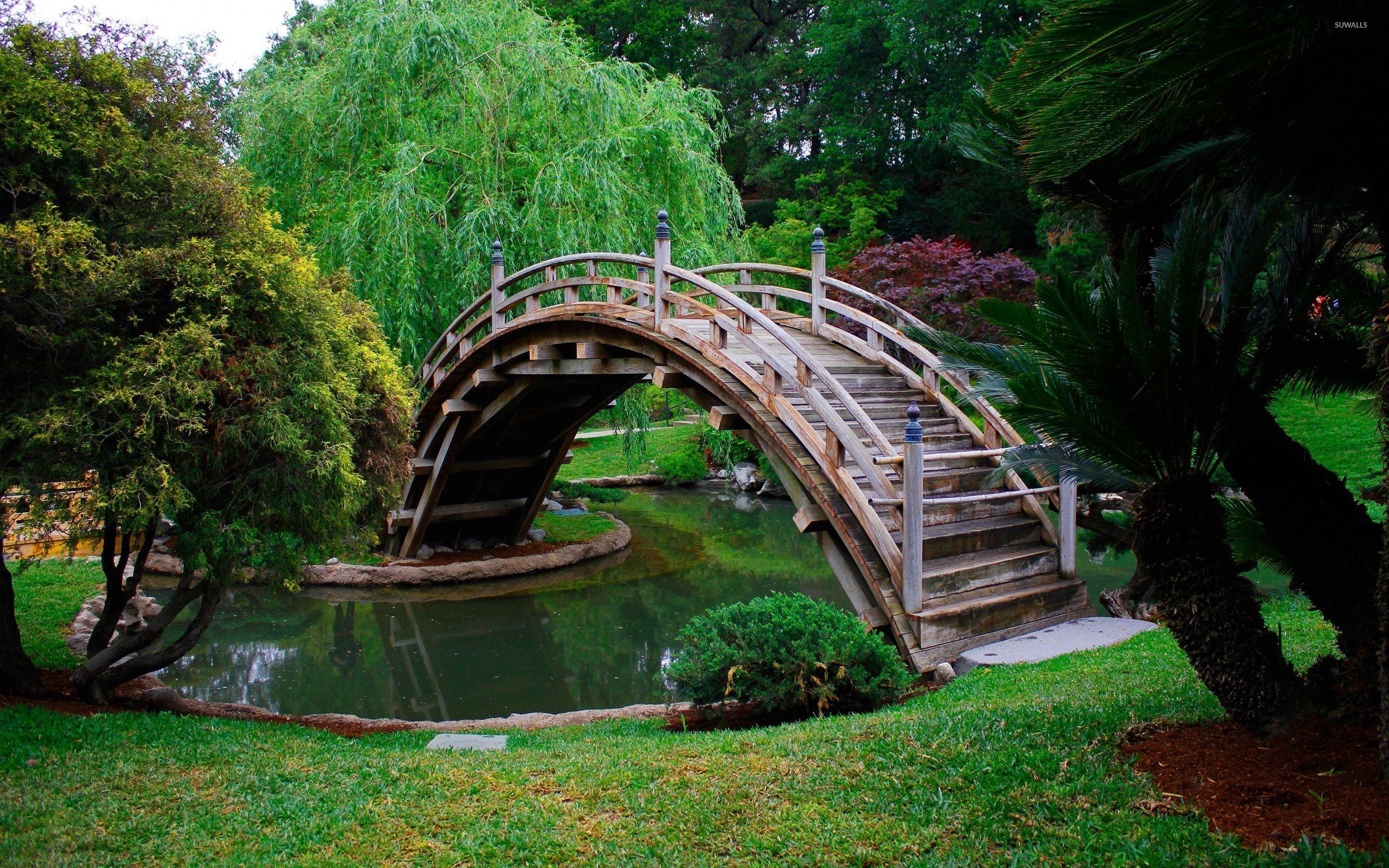 Res: 2560x1600, Wooden bridge in a japanese garden wallpaper