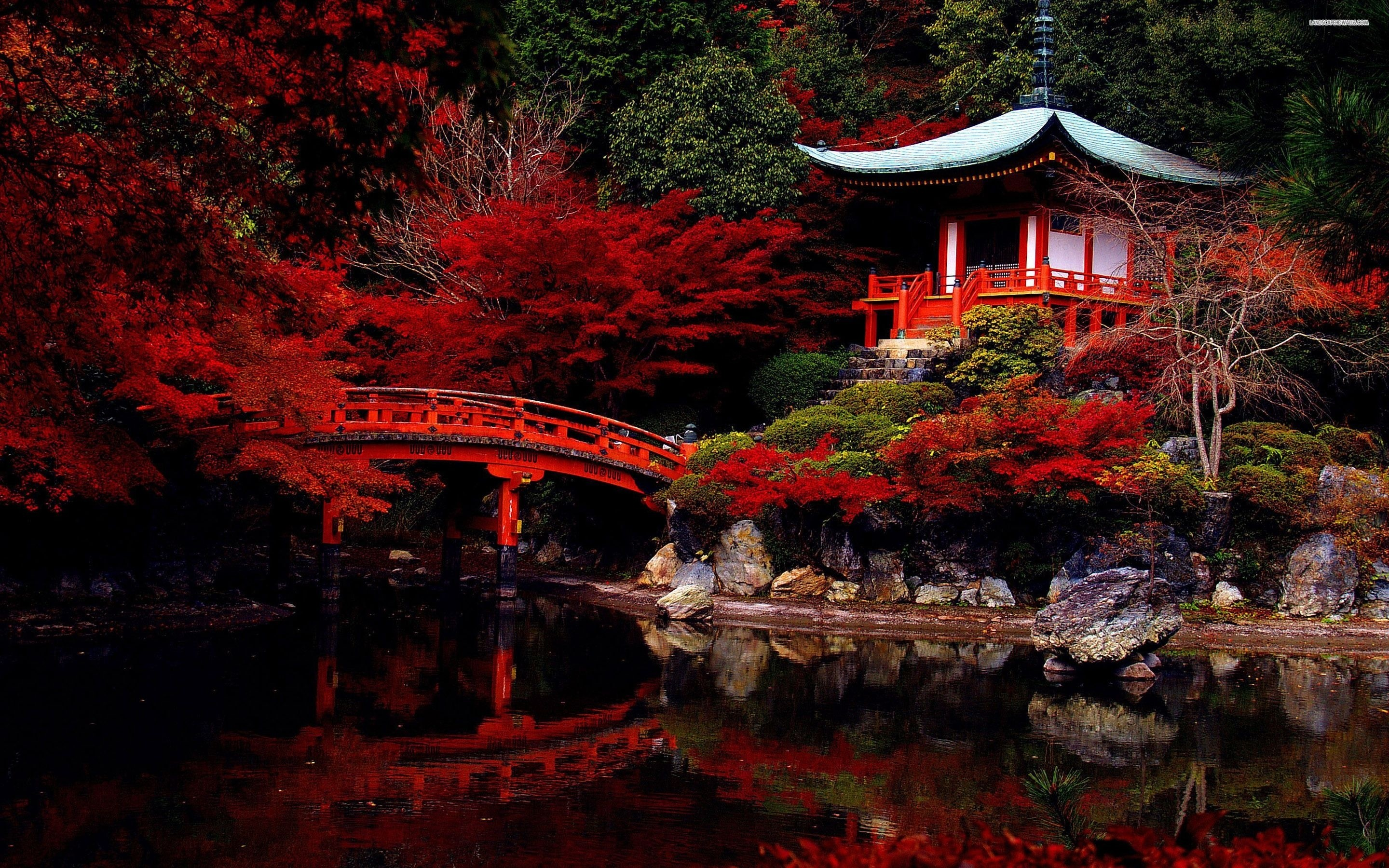 Res: 2880x1800, Title : autumn in the japanese garden wallpaper | landscapes wallpapers.  Dimension : 2880 x 1800. File Type : JPG/JPEG
