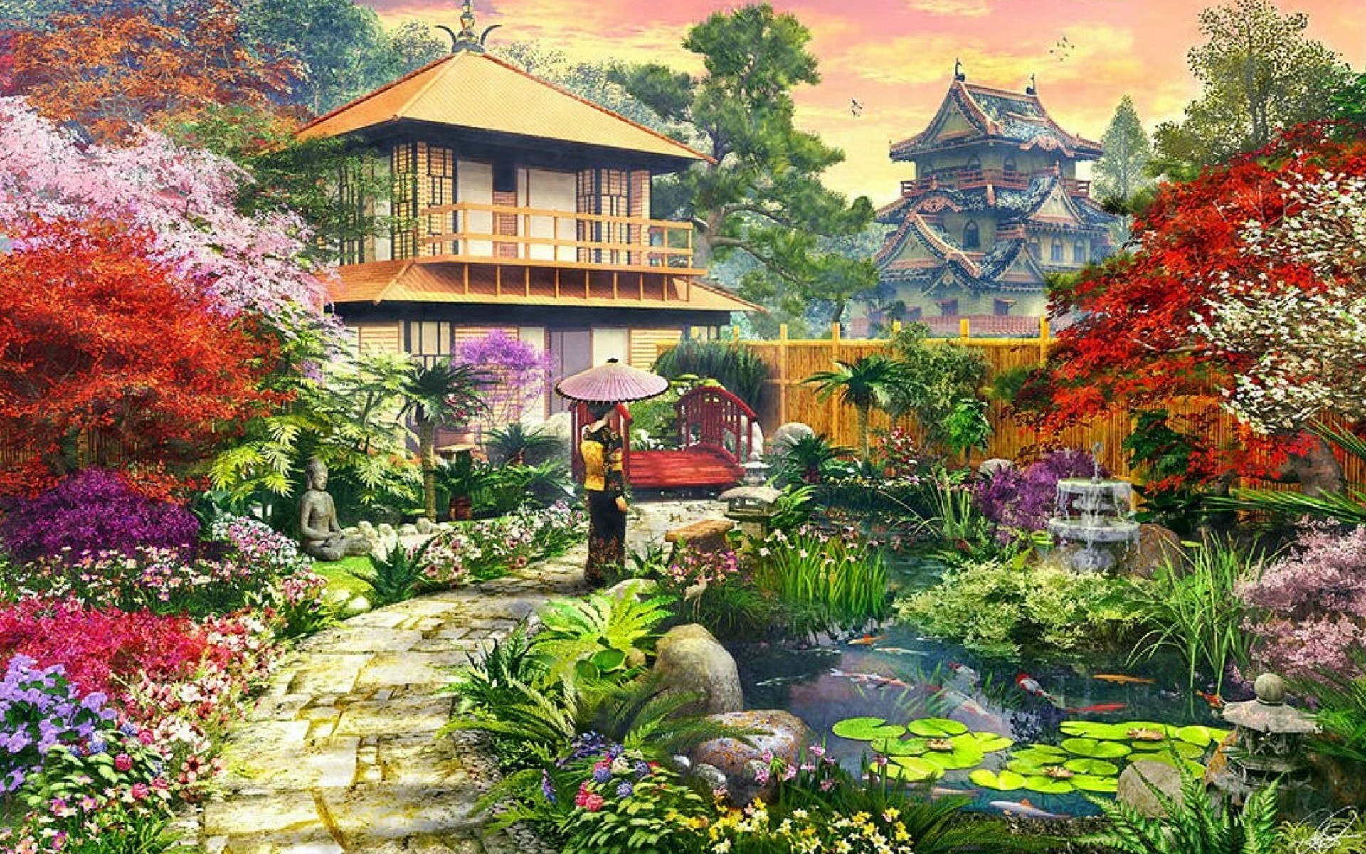 Res: 1920x1200, Image: Splendid Japanese Garden wallpapers and stock photos. Â«