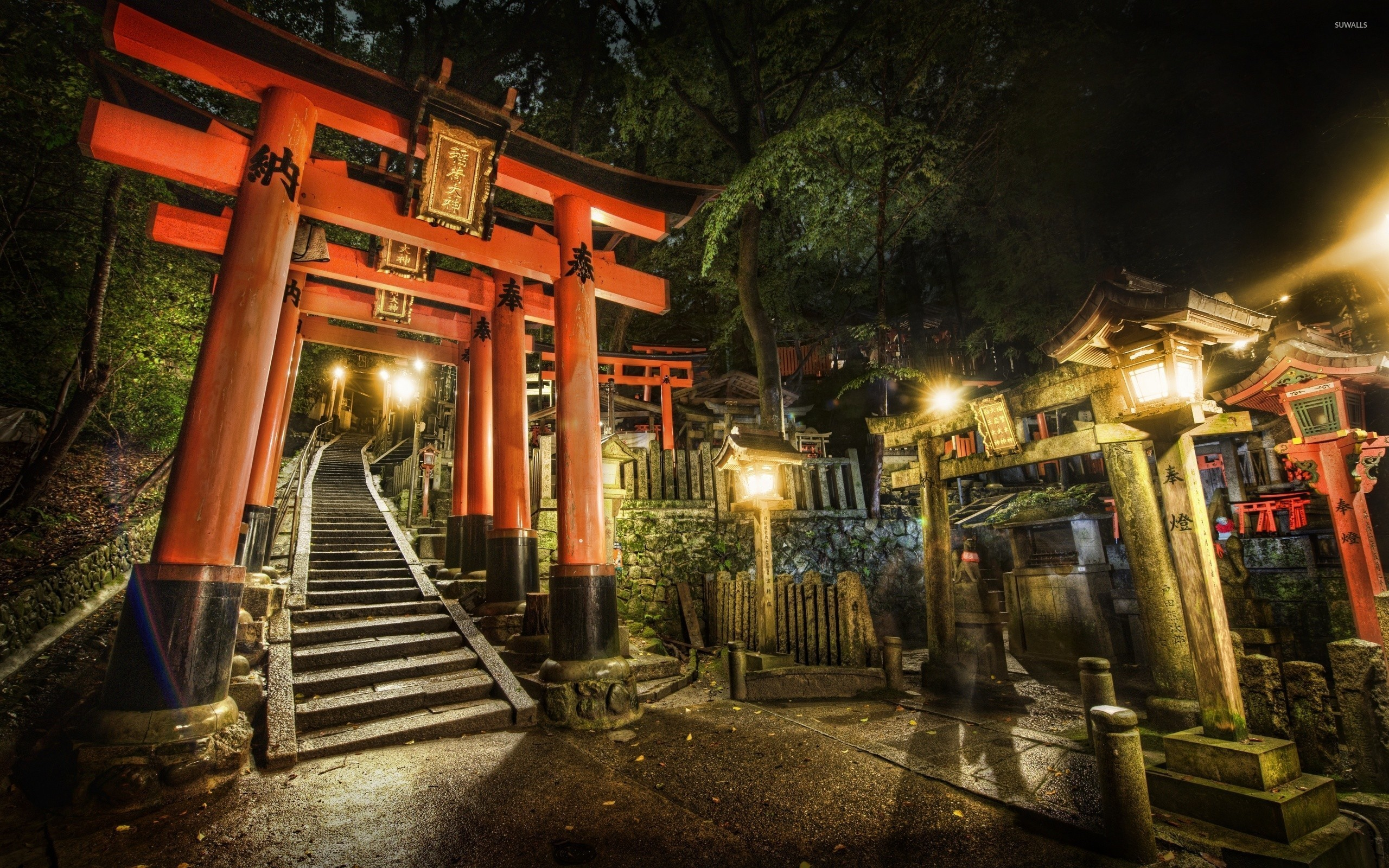 Res: 2560x1600, Torii in a japanese garden wallpaper
