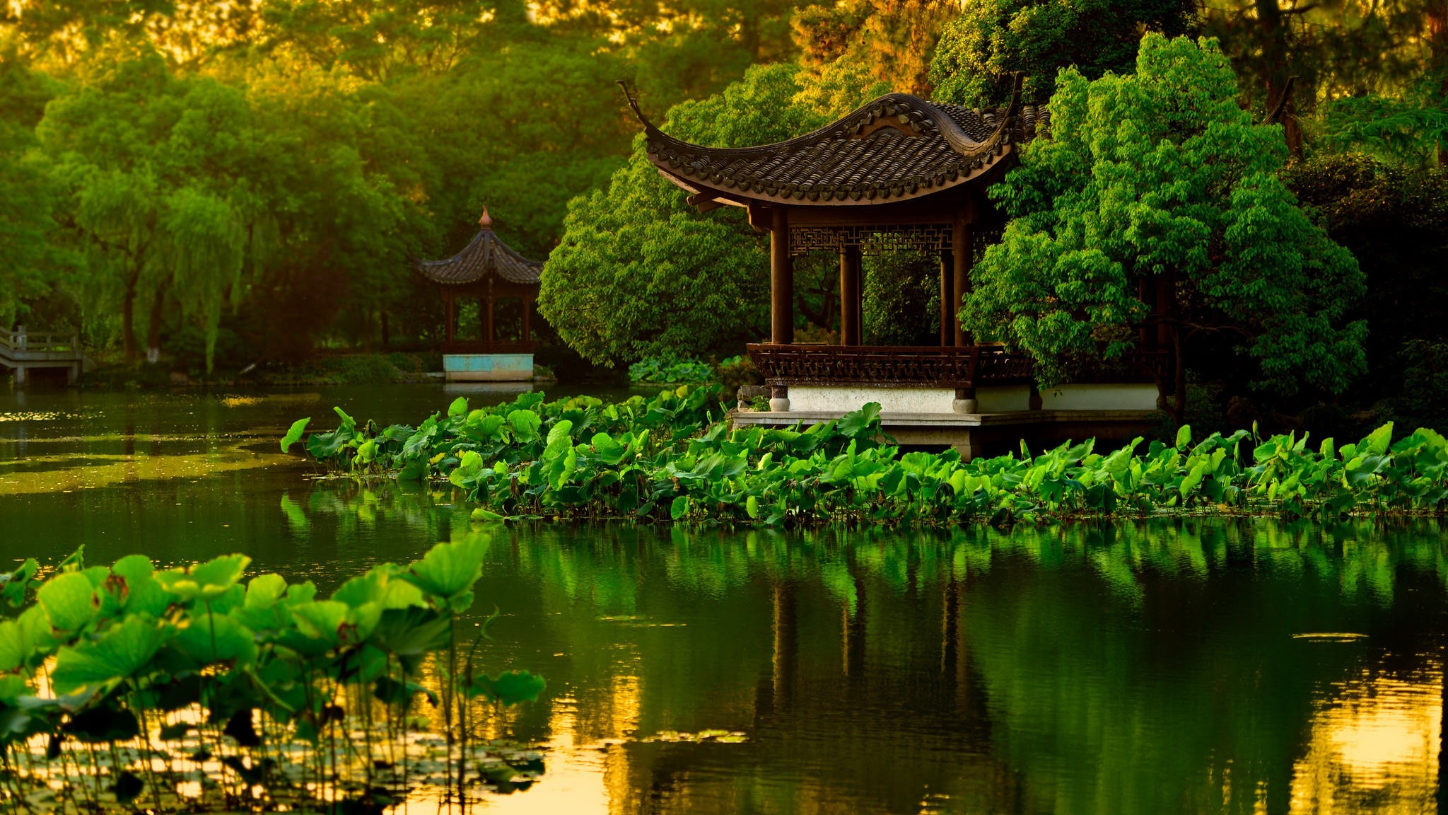 Res: 2048x1152, landscape japanese garden lake wallpaper and background