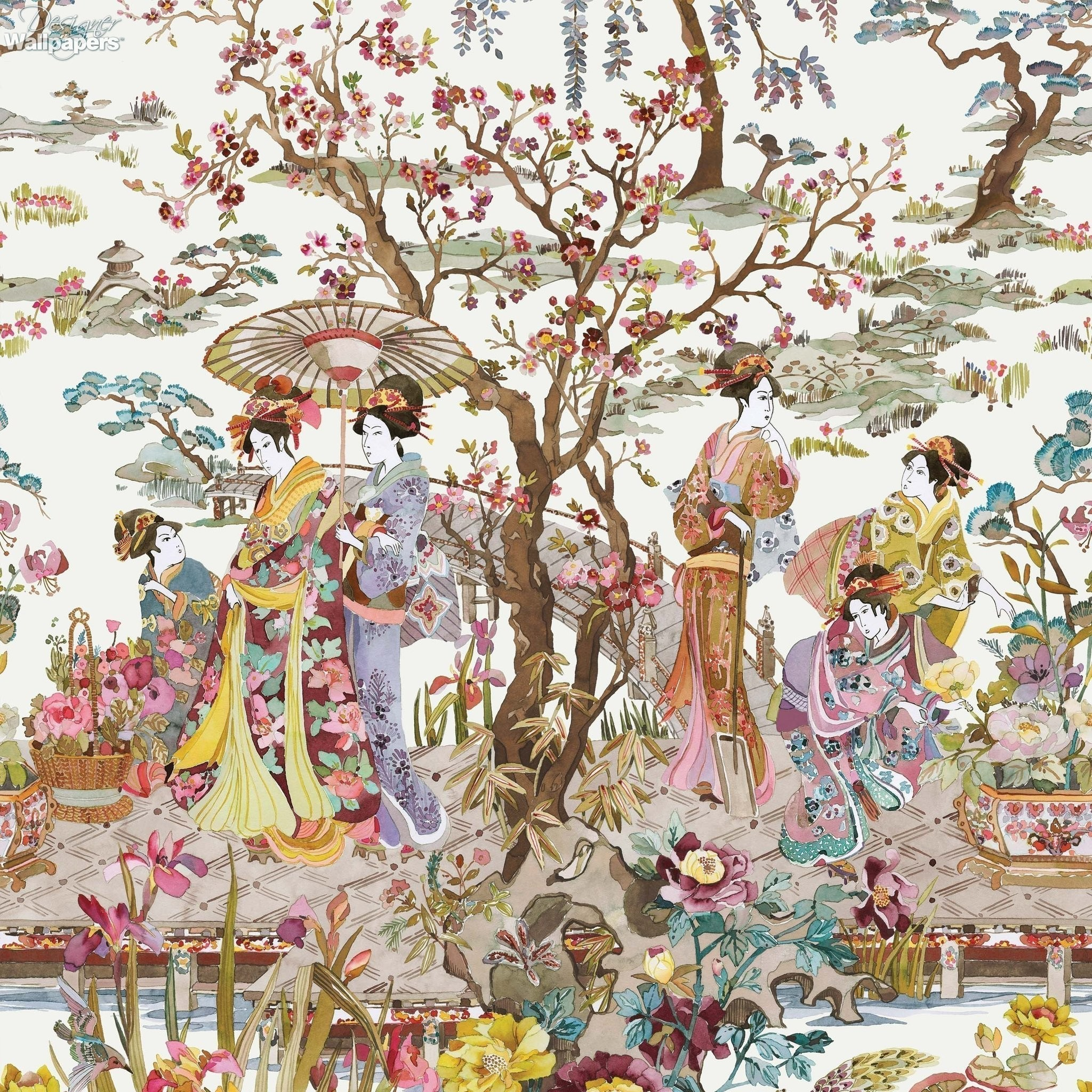 Res: 2048x2048, Japanese Garden Wallpaper in Ochre from the Enchanted Gardens Collection by  Osborne & Little