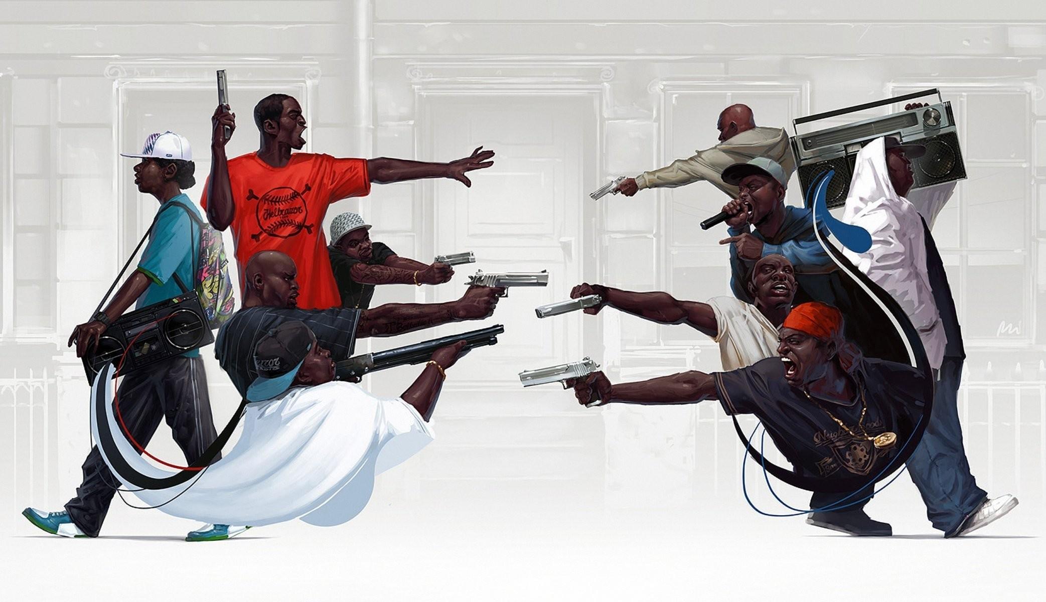 Res: 2085x1200, rap hip hop gangsta boombox gun weapon michal lisowski