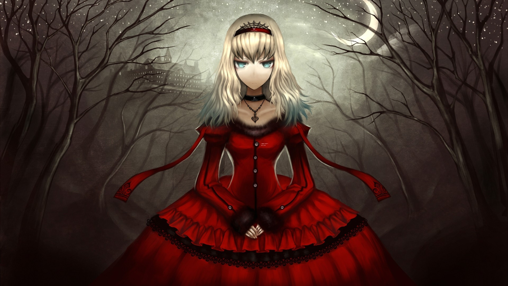 Res: 1920x1080, Download Anime HD Wallpapers Background Image girl dress black gothic  castle night darkness 9865