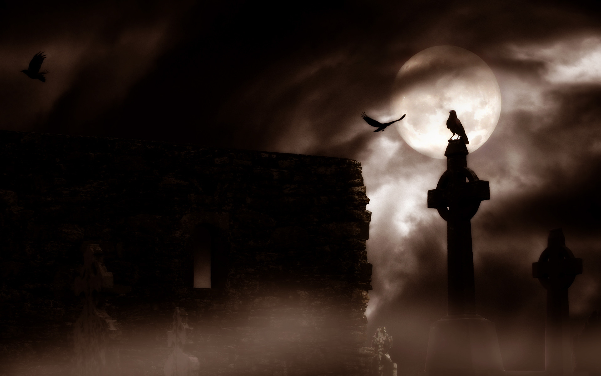 Res: 1920x1200, Bird and Moon Gothic Wallpaper Android