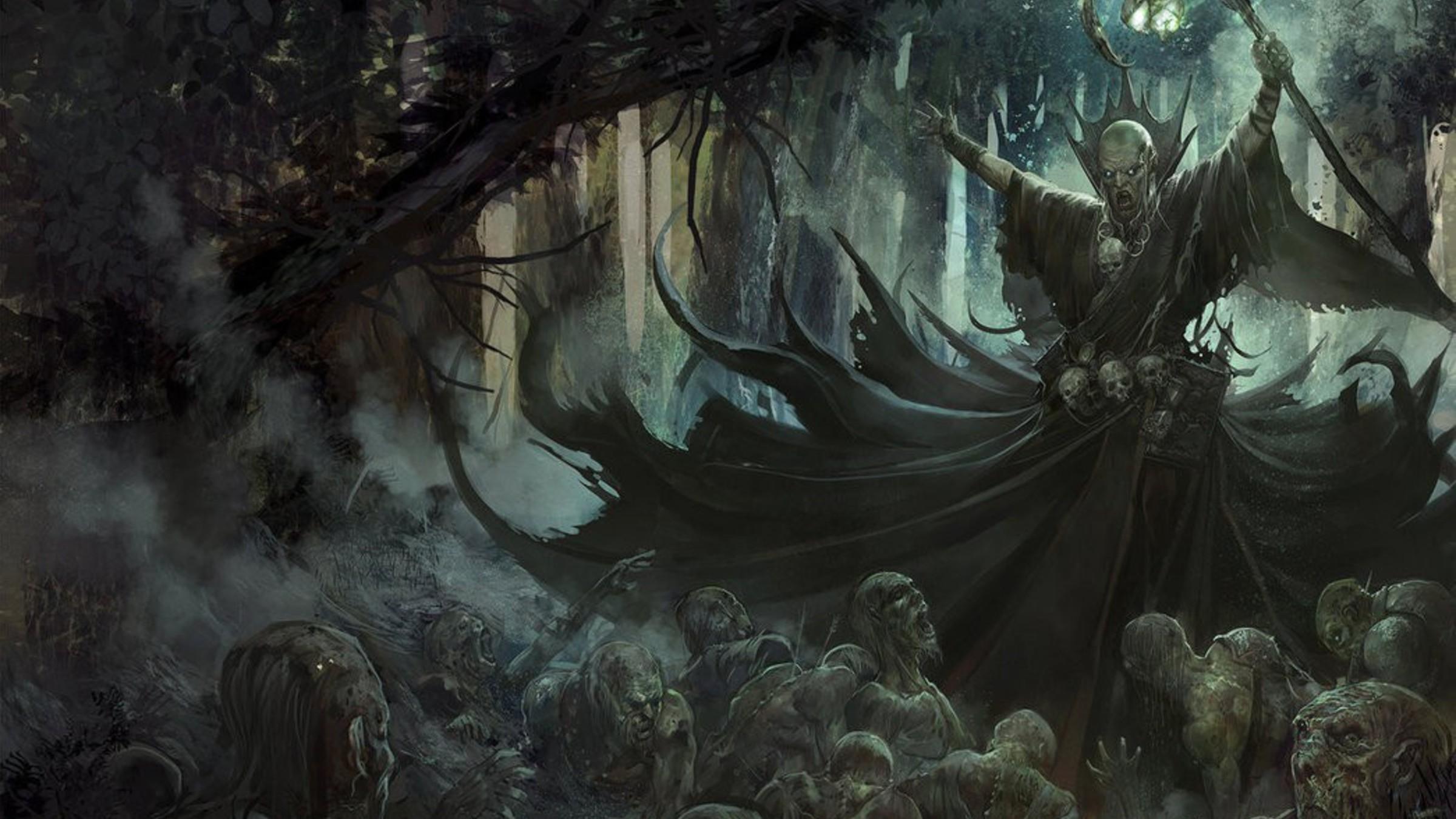 Res: 2400x1350, Necromancer artwork fantasy art forests undead wallpaper