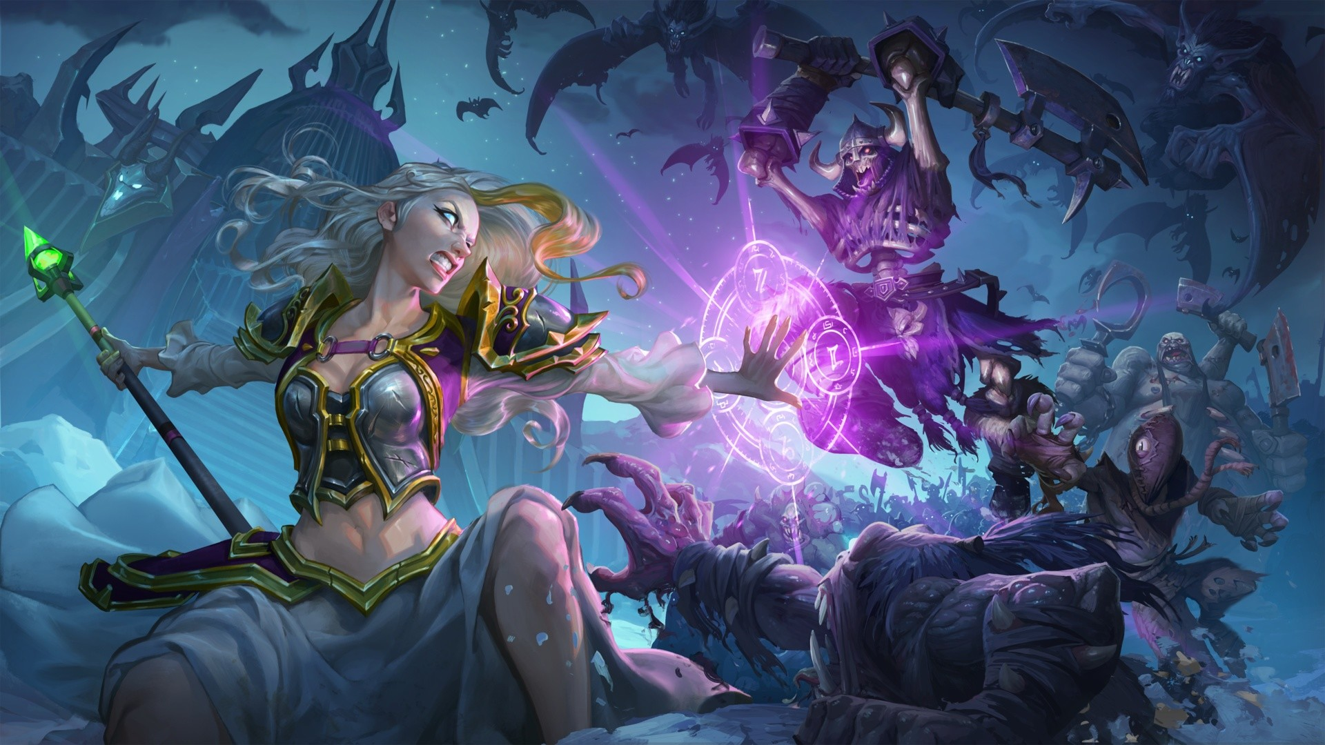 Res: 1920x1080, Jaina vs. undead. Wallpaper from Hearthstone: Knights of the Frozen Throne