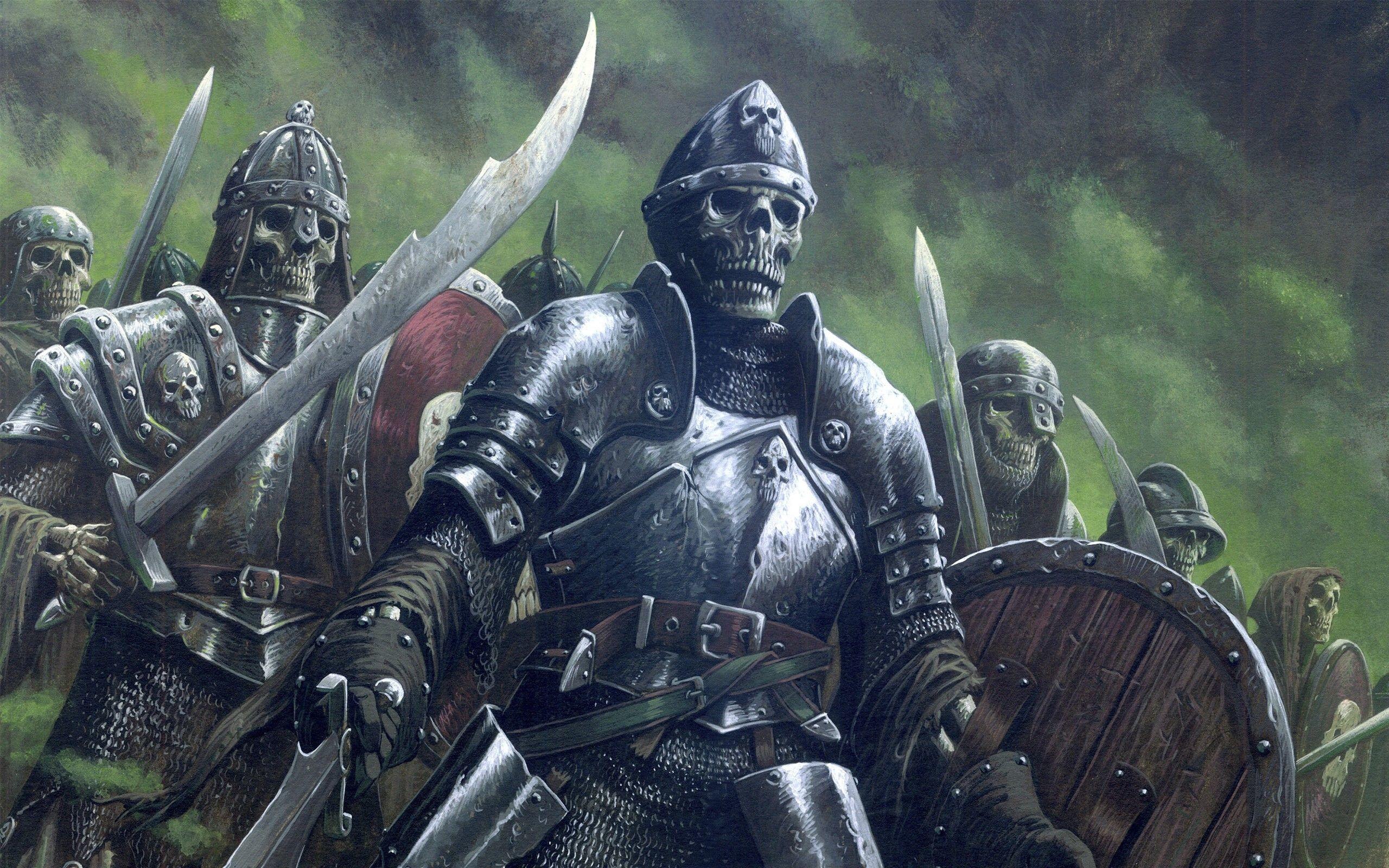Res: 2560x1600, Army undead fantasy art armor skeletons artwork warriors wallpaper .