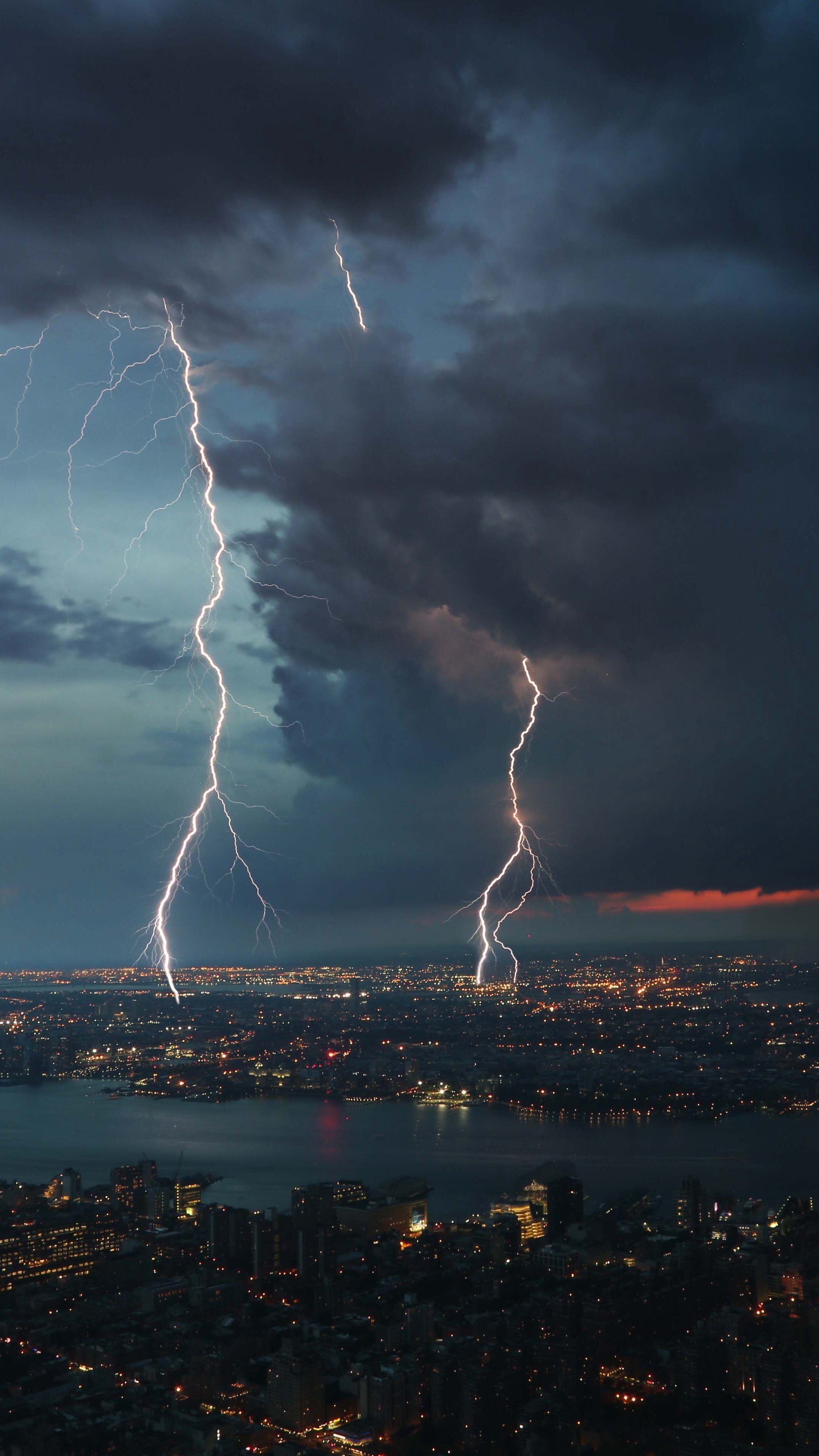 Res: 2160x3840, #Places #nightcity #thunderstorm #topview #wallpapers hd 4k background for  android :)