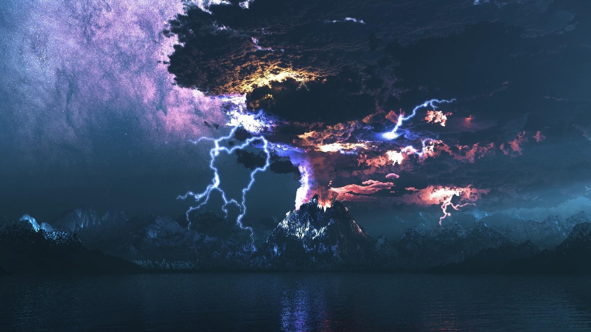 Res: 1920x1080, Volcano Storm & Lightning HD Wallpaper. « »