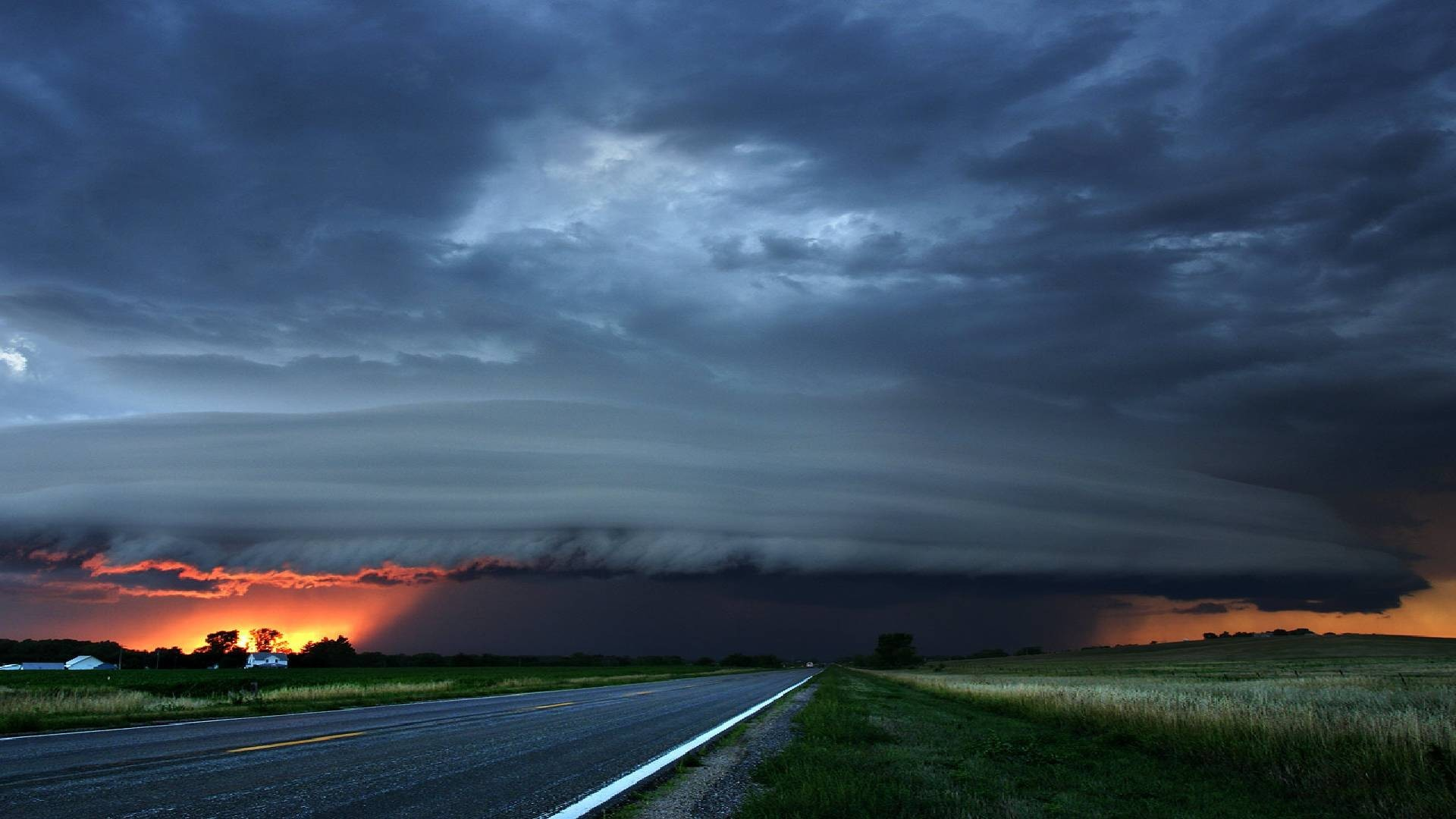 Res: 1920x1080, Clouds Fields Cool Road Sunset Storm Wallpaper Sky Night Hd -