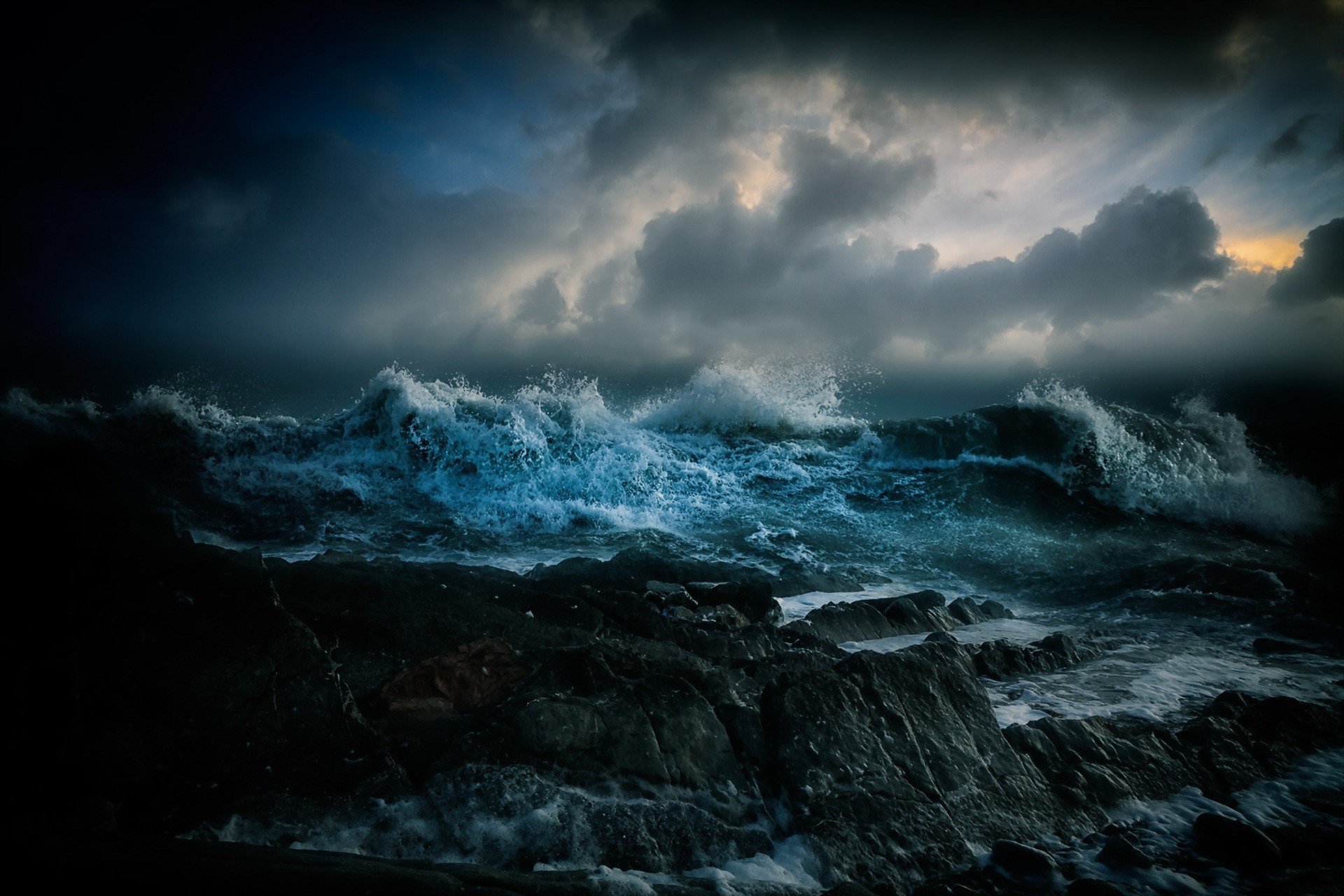 Res: 1920x1280, Dark Ocean Storm Wallpapers Full Hd