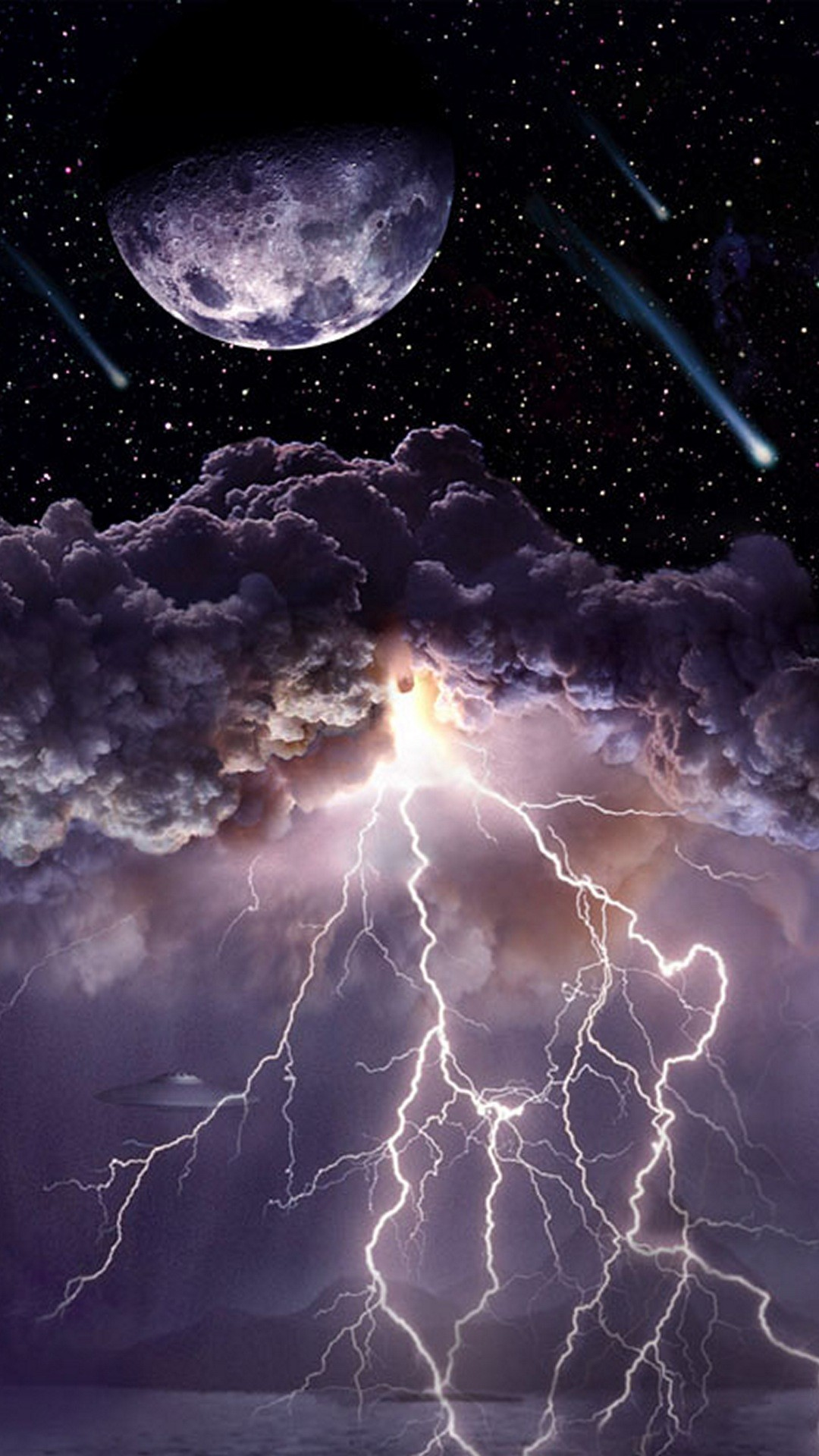 Res: 1080x1920, Moon Asteroids Storm Clouds Lightning Android Wallpaper ...