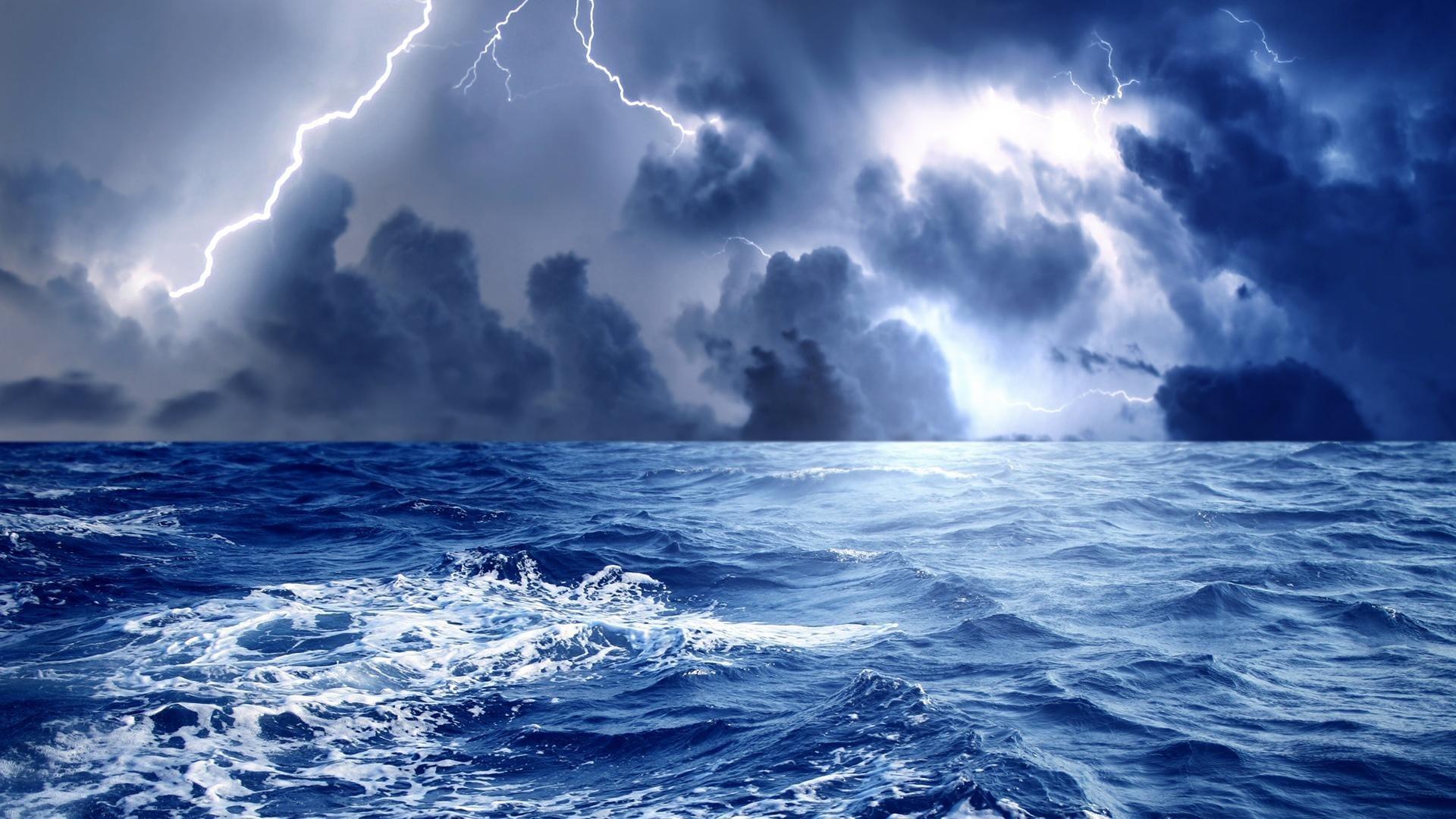 Res: 1920x1080, Beautiful Thunder Lightning Sea Storm Wallpapers