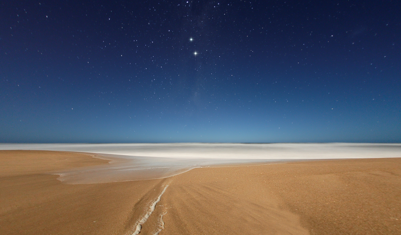 Res: 2730x1600,  Wallpaper stars, sky, coast, sand, beach