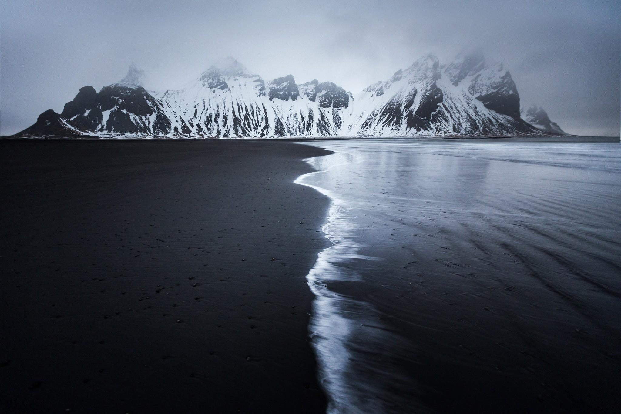Res: 2048x1365, #dark, #monochrome, #landscape, #snow, #coast, #black sand, #mountains,  #sea, #nature, #beach, wallpaper