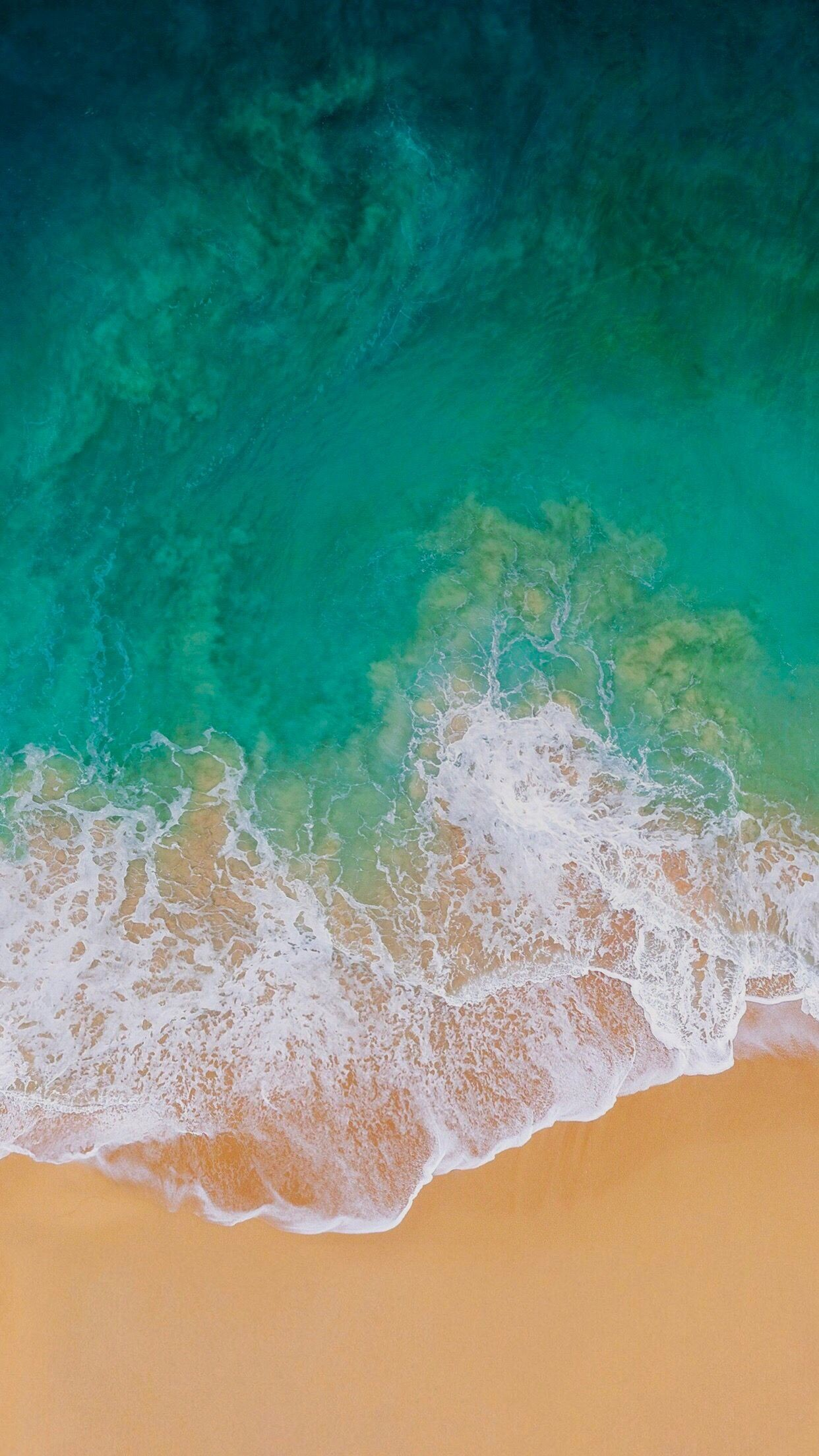 Res: 1242x2208, iOS 11, Turquoise, sand, beach, ocean, abstract, apple, wallpaper, iPhone,  clean, beauty, colour, iOS, minimal, iPhone 7, iPhone 6