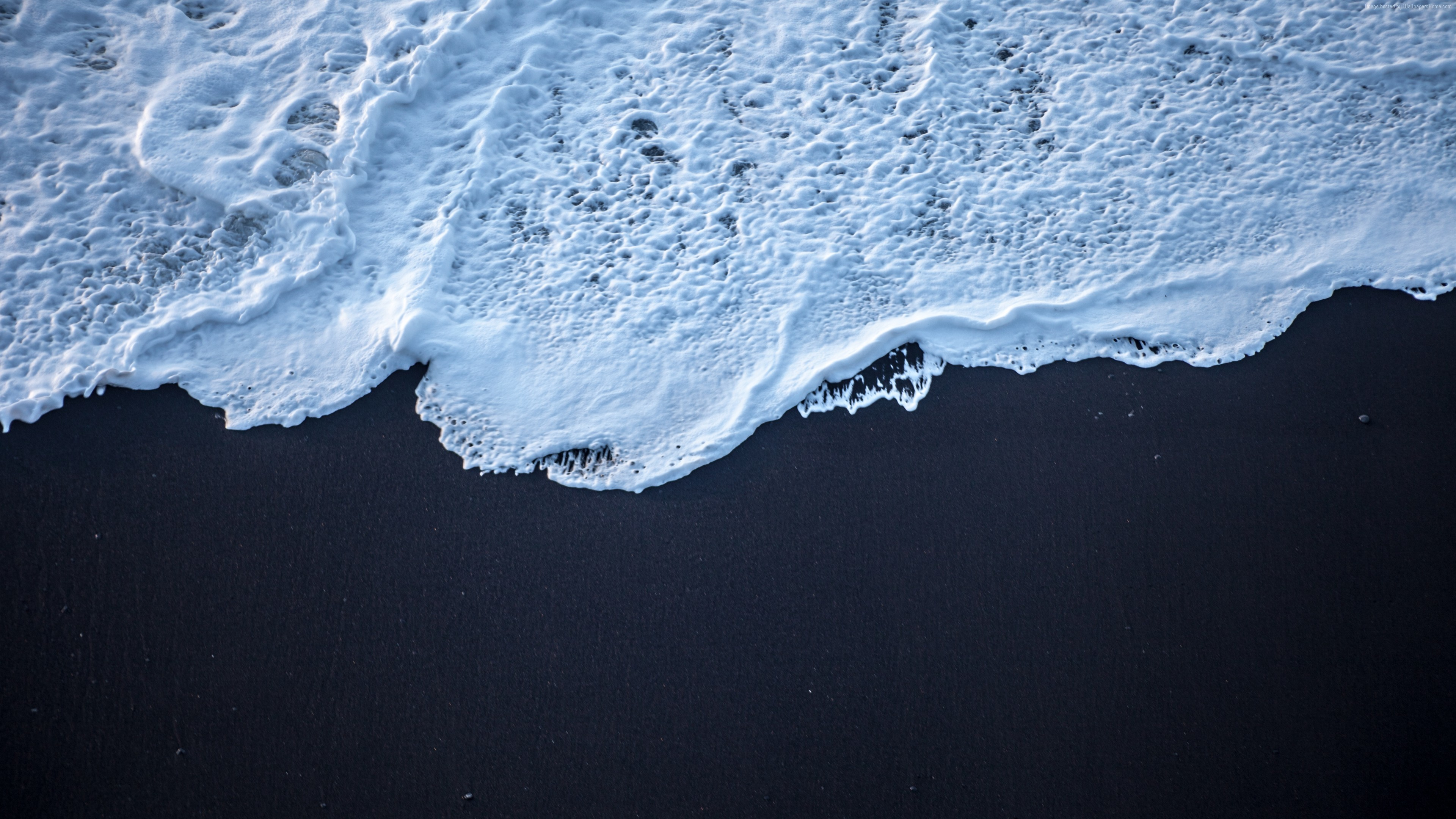Res: 3840x2160, Sea Foam Black Sand 4k (Laptop HD)