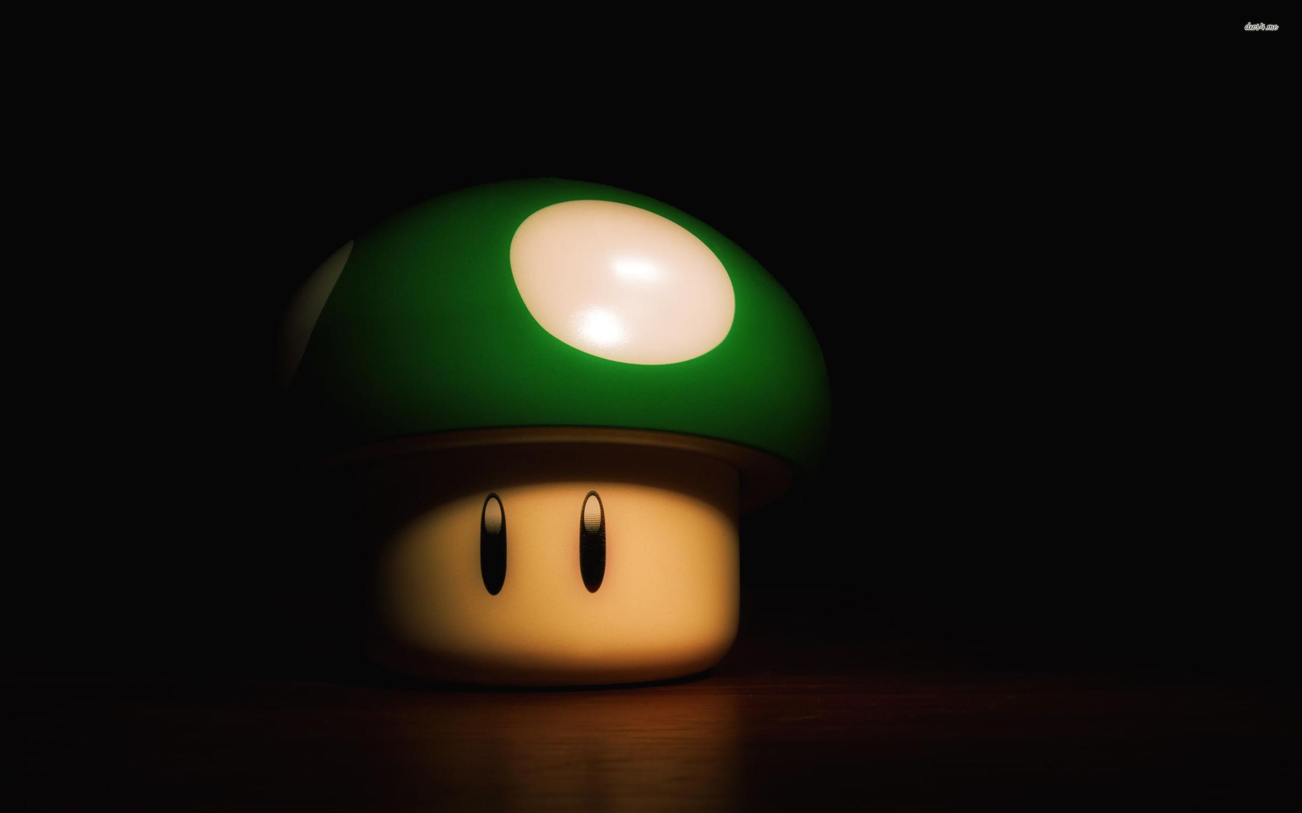Res: 2560x1600, ... Green Mario mushroom wallpaper  ...