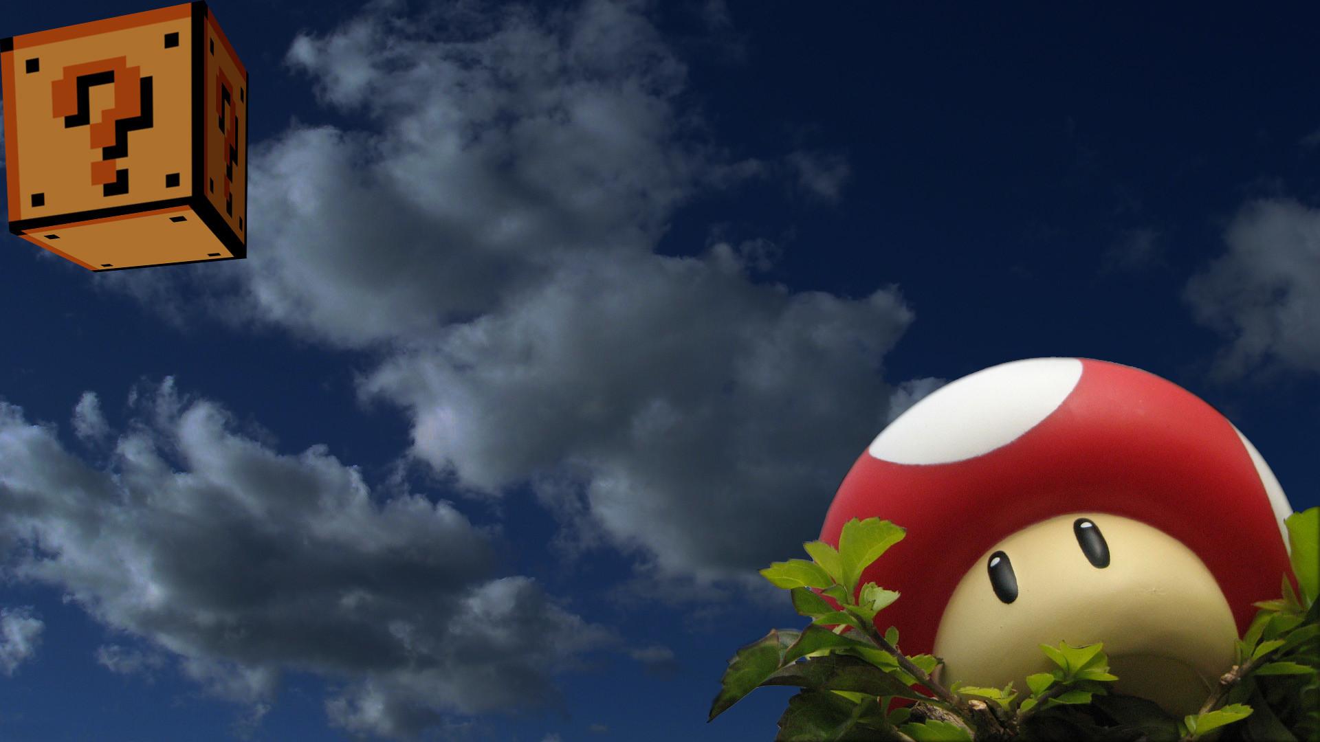 Res: 1920x1080, wallpaper clouds · Mario · mushrooms