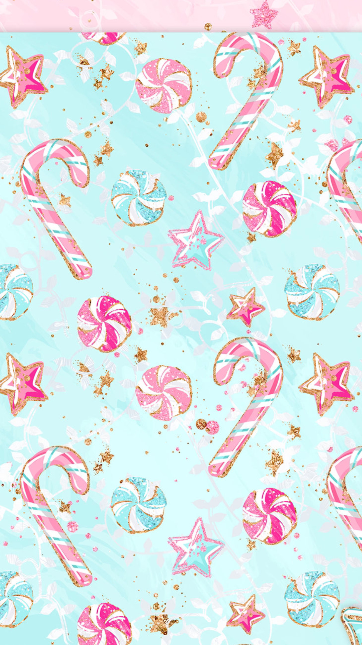 Res: 1242x2208, Christmas candy cane mints stars
