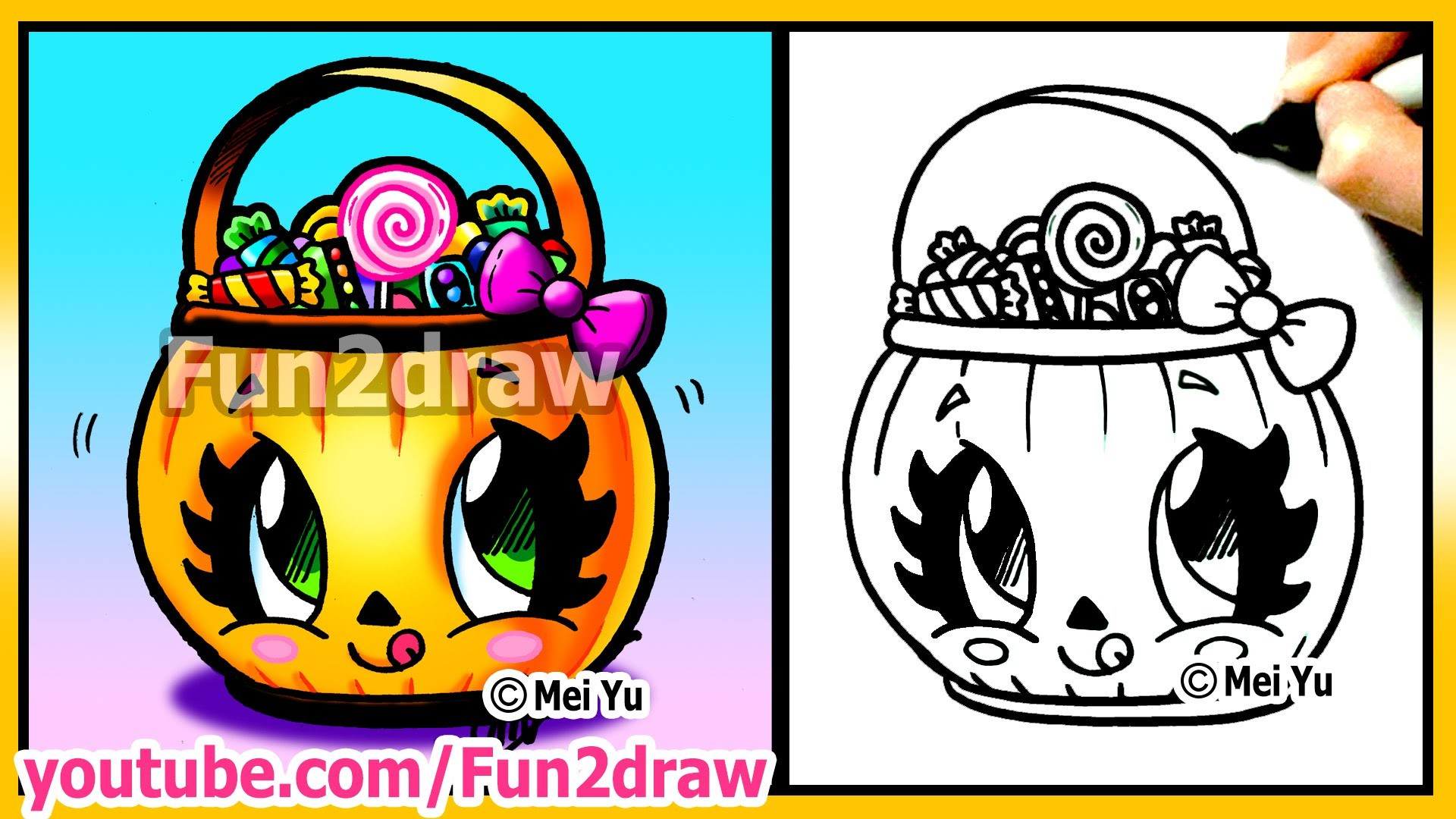 Res: 1920x1080, Cute Candy Bucket How To Draw Halloween Easy Stuff Pictures