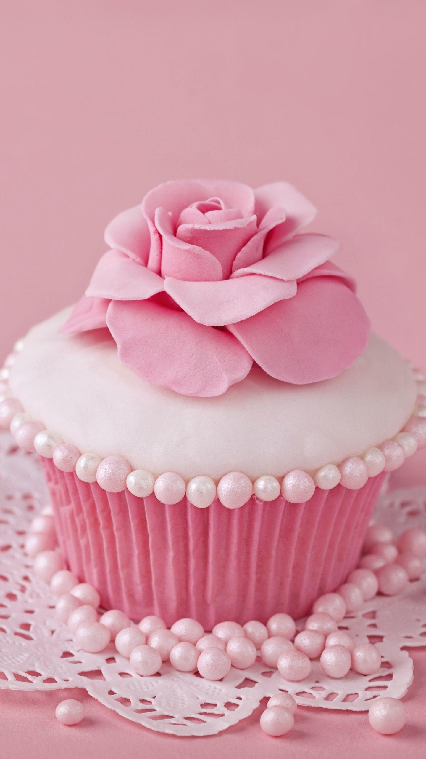 Res: 1440x2560,  Food Cupcake Pink Sweets Flower. Wallpaper 669585