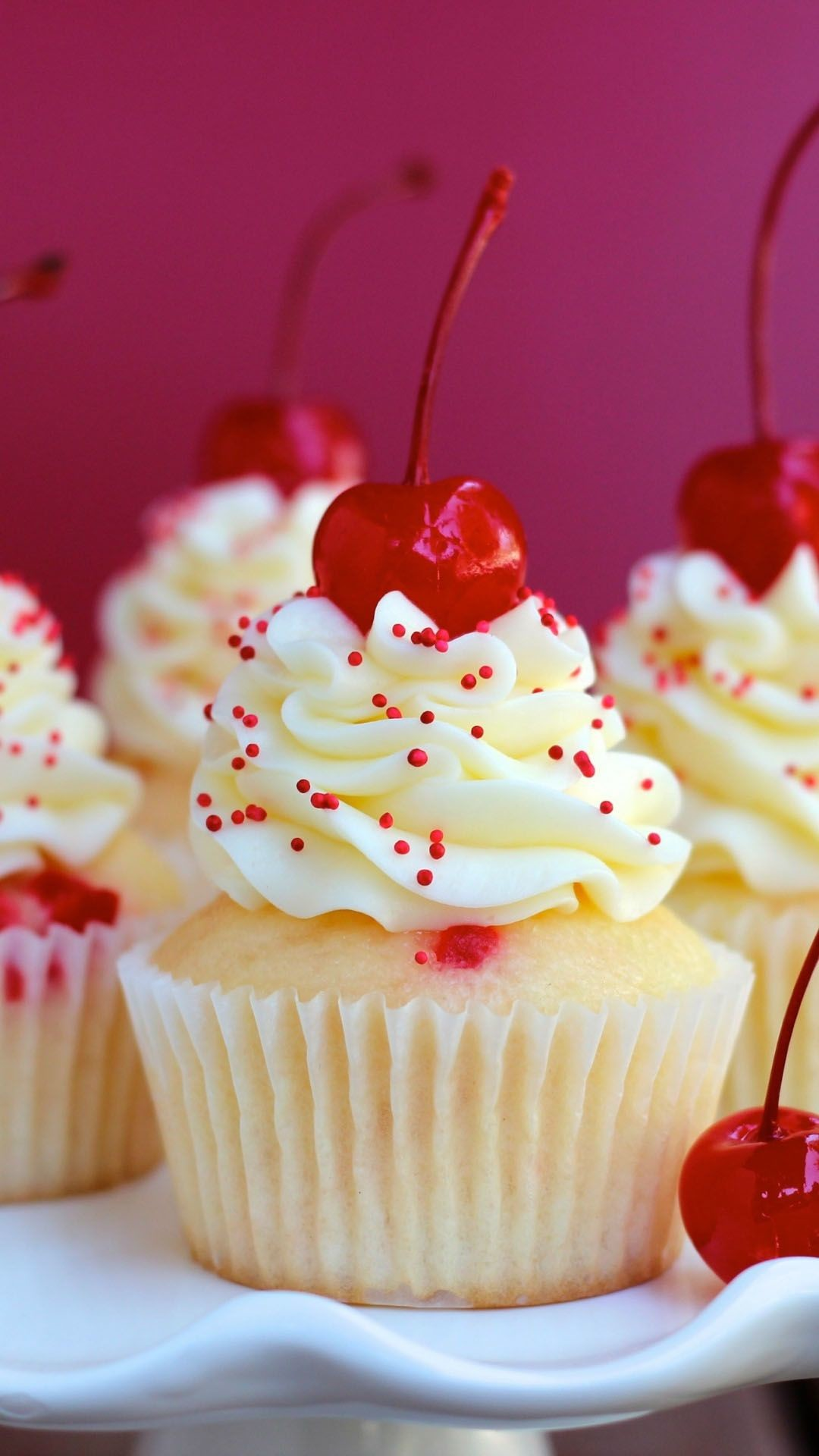 Res: 1080x1920, Almond-Cherry-Cupcakes-iphone-wallpapers
