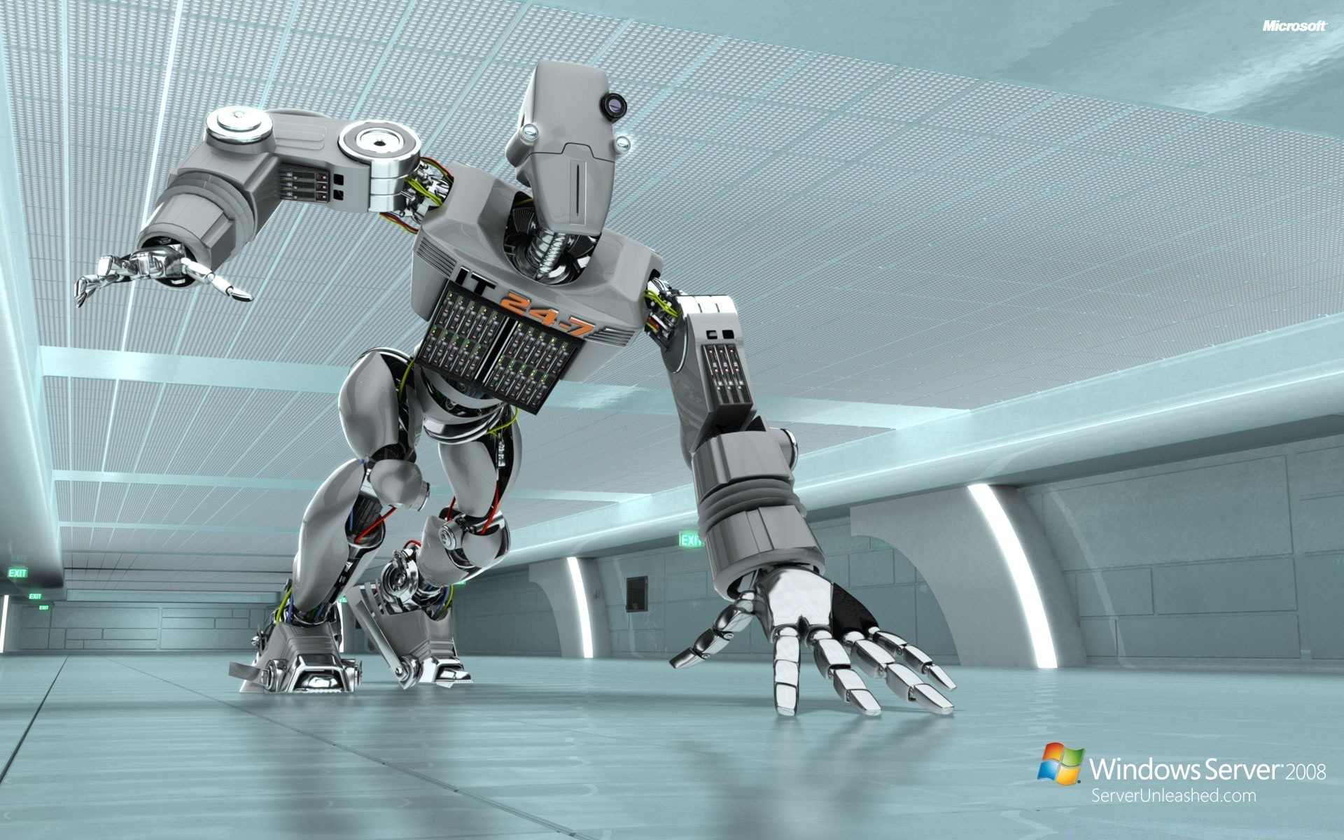 Res: 1920x1200,  Windows Server 2008 Unleashed IT 24-7 Robot. Android wallpapers  for free. Download ·  Windows Server ...