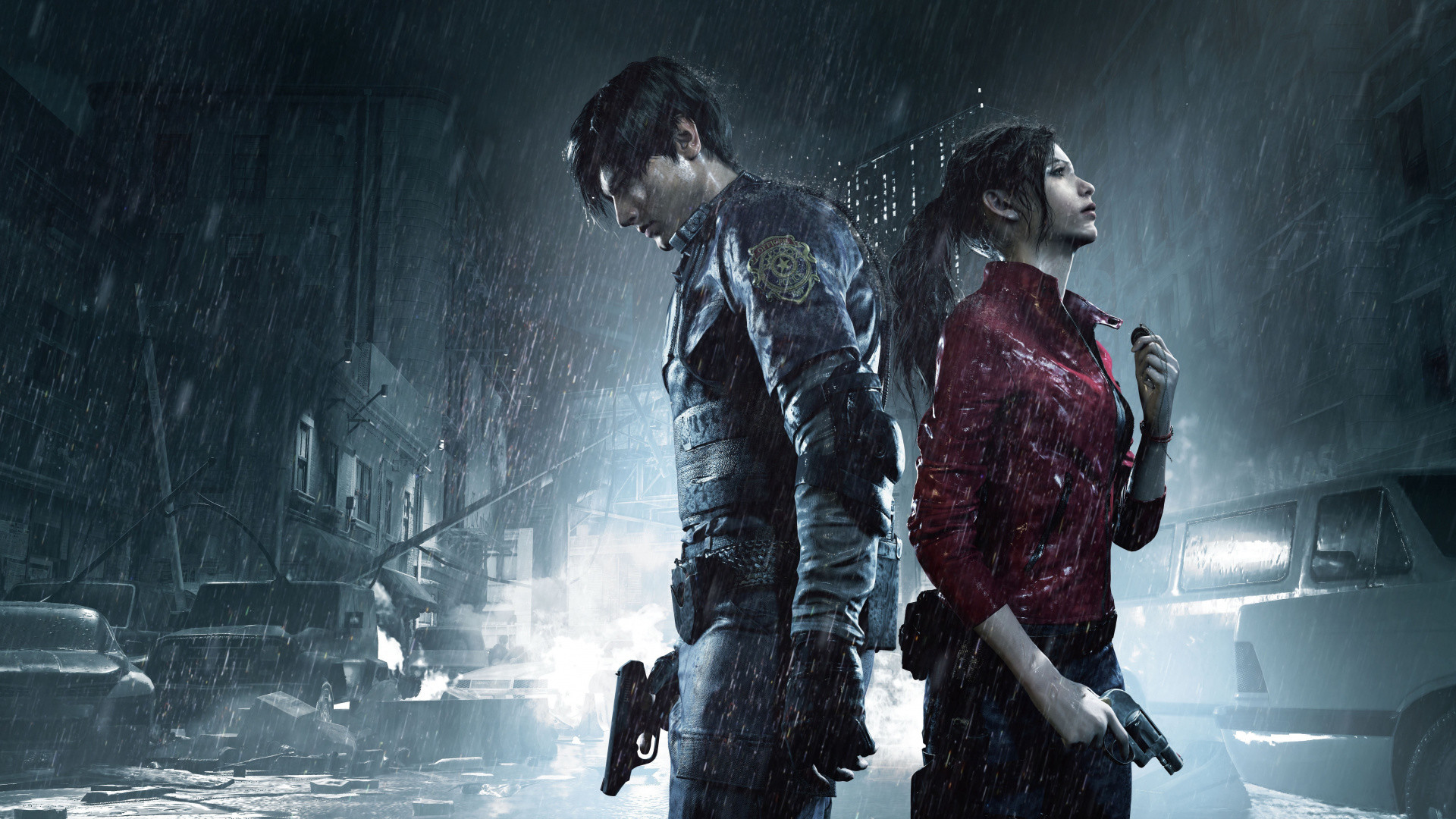 Res: 1920x1080,  wallpaper Resident Evil 2, Claire Redfield, Leon Kennedy, video  game, 2018