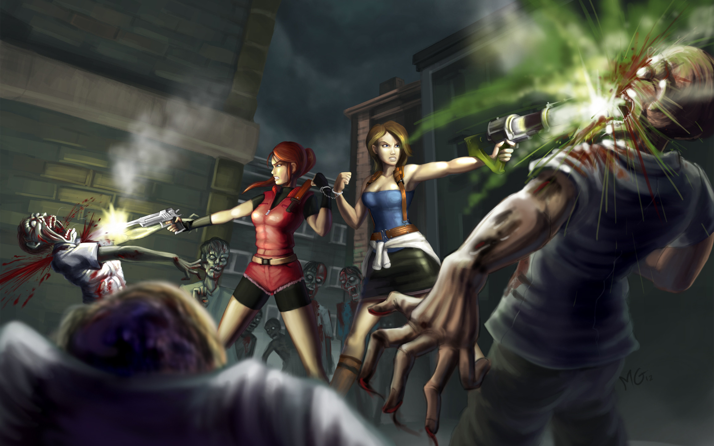 Res: 2315x1447, Resident Evil 6 Claire Redfield Jill Valentine blood zombie dark wallpaper  |  | 133490 | WallpaperUP