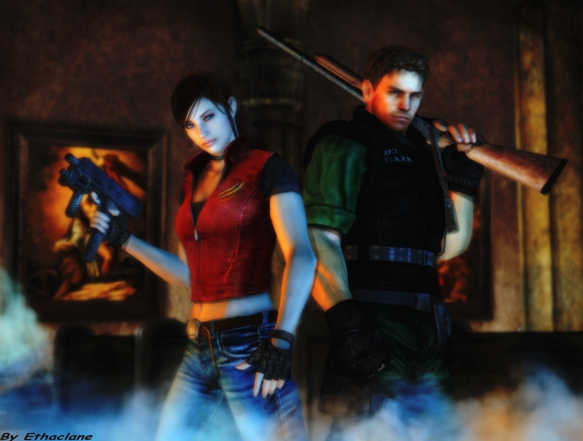 Res: 1920x1452, 1920x1200 Chris Redfield and Sheva Alomar wallpaper from Resident Evil 5  Chris, Sheva and belongs to capcom Chris and Sheva Wallpaper 1