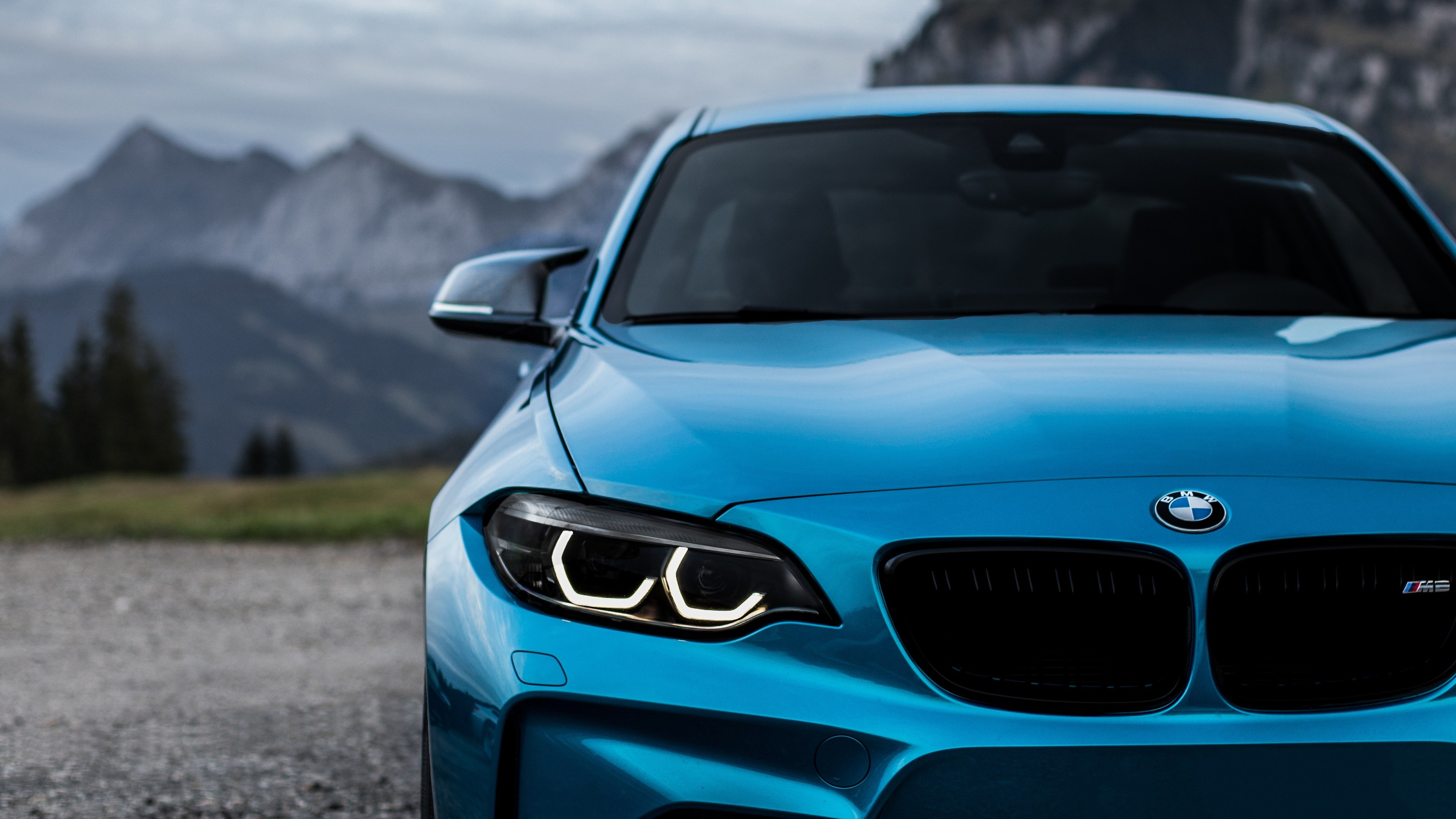 Res: 3840x2160,  Wallpaper bmw m2, bmw, front view, blue, headlights