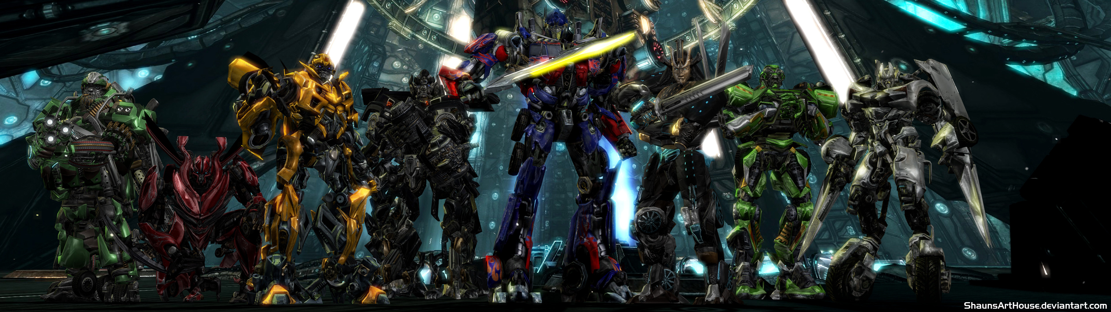 Res: 3840x1080, ... Transformers - Autobots Dual Screen Wallpaper by ShaunsArtHouse