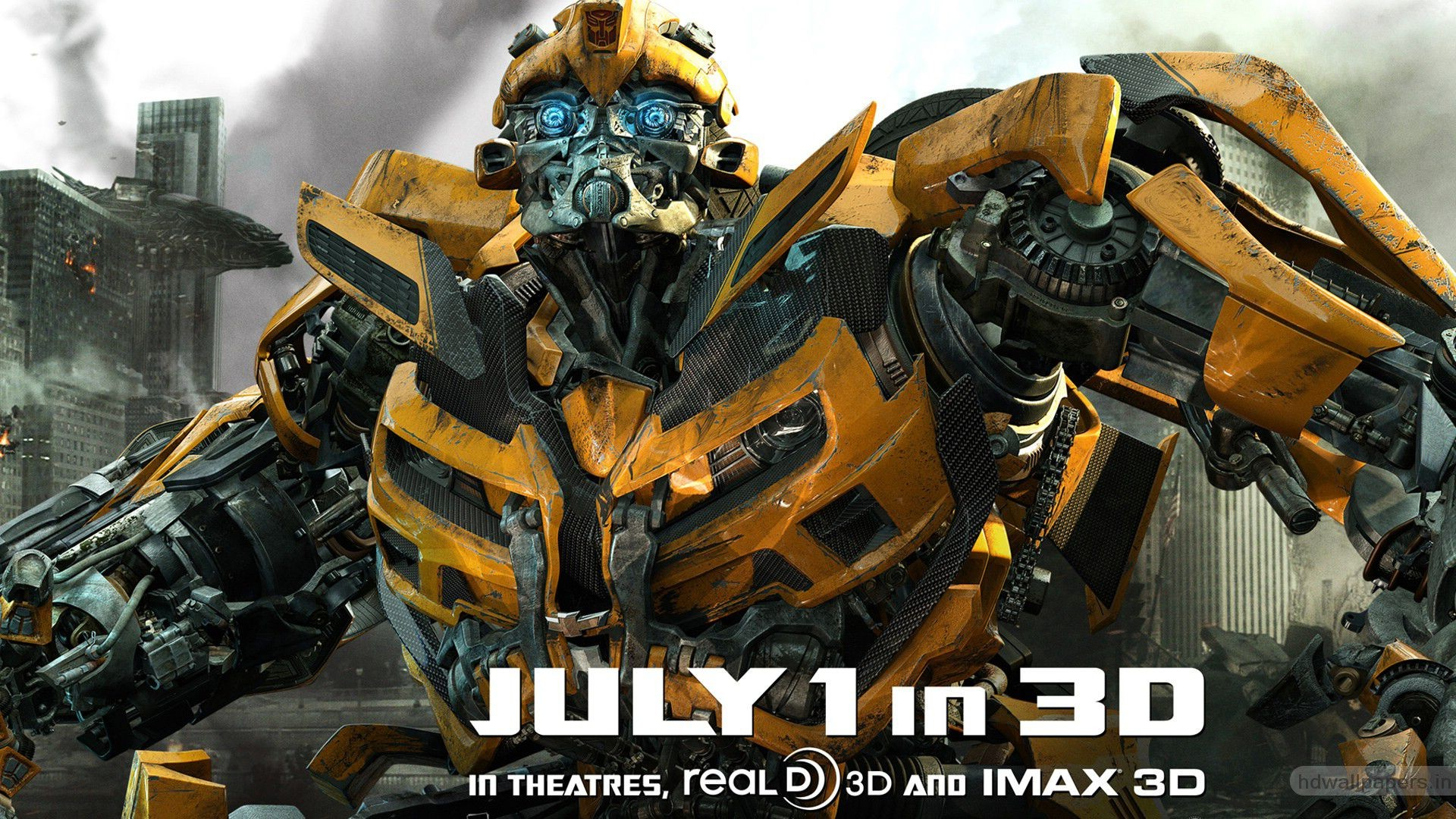 Res: 1920x1080, Bumblebee In New Transformers 3 Movie Poster Fhd Wallpaper