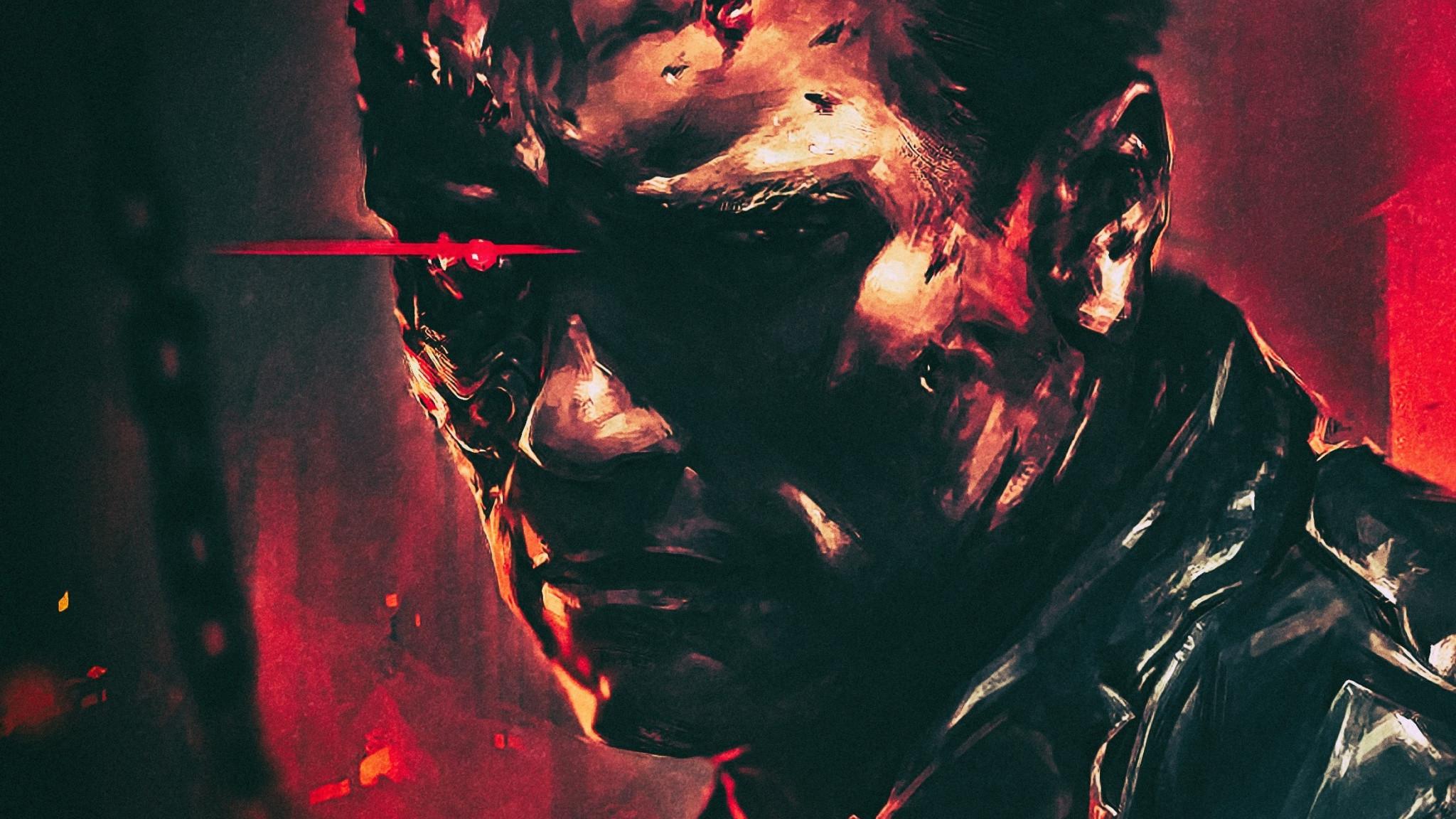 Res: 2048x1152, Terminator 2, T-800, cyborg, Arnold Schwarzenegger, movie, art,