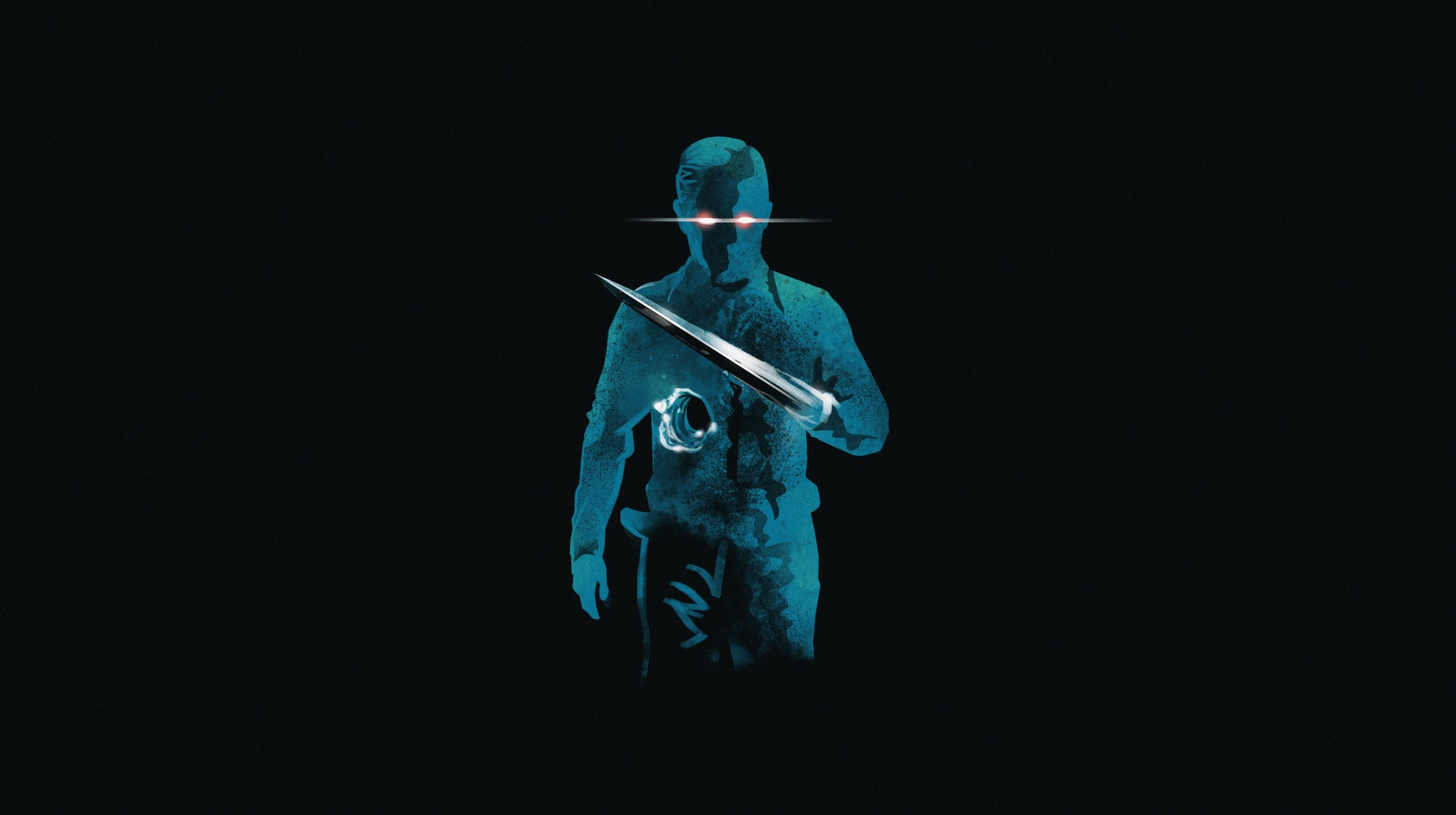 Res: 2500x1400, General  Terminator movies artwork T-1000 blue black background Terminator  2