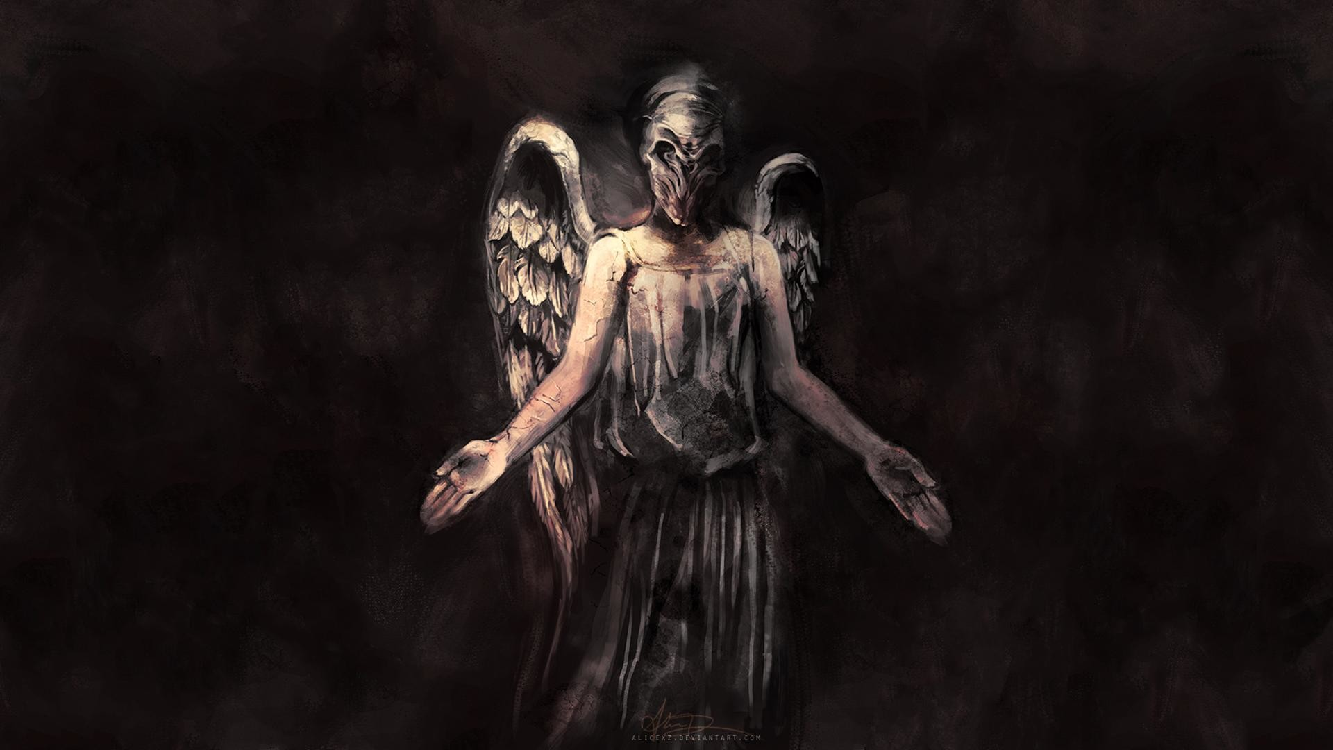 Res: 1920x1080, Doctor Who The Silence angels dark fallen wings fantasy evil scary