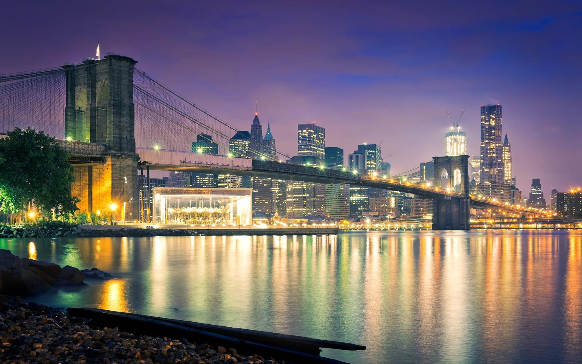 Res: 1920x1200, Brooklyn Bridge Bridge New York Buildings Skyscrapers Ocean Night reflection