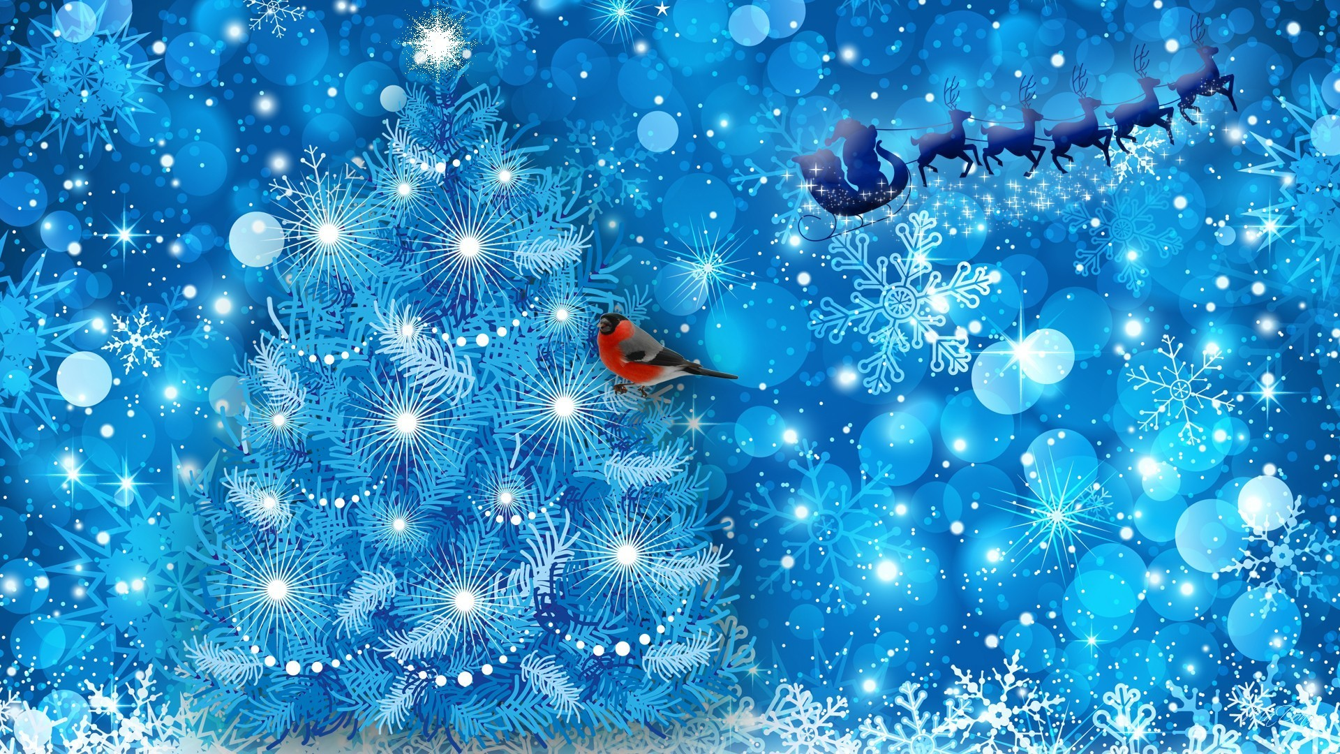 Res: 1920x1080, Blue Holiday Finch Santa Reindeer Snow Tree Claus Christmas Snowflakes  Sparkle Desktop Animated Winter Scenes
