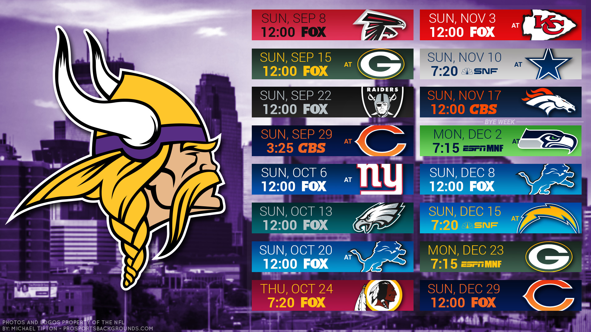 Res: 1920x1080, Minnesota Vikings city 2019 schedule background download for desktop pc or  mac 1080x1920