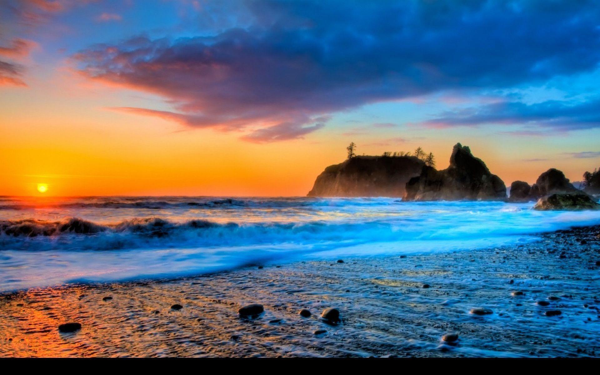 Res: 1920x1200, beach-sunset-wallpaper- .