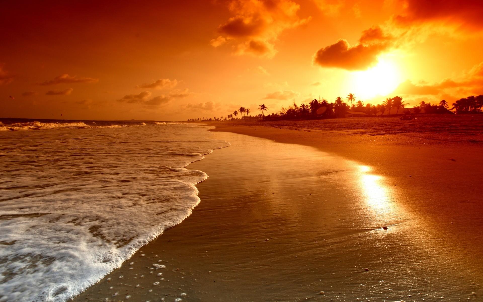 Res: 1920x1200, Beach Sunset Wallpaper