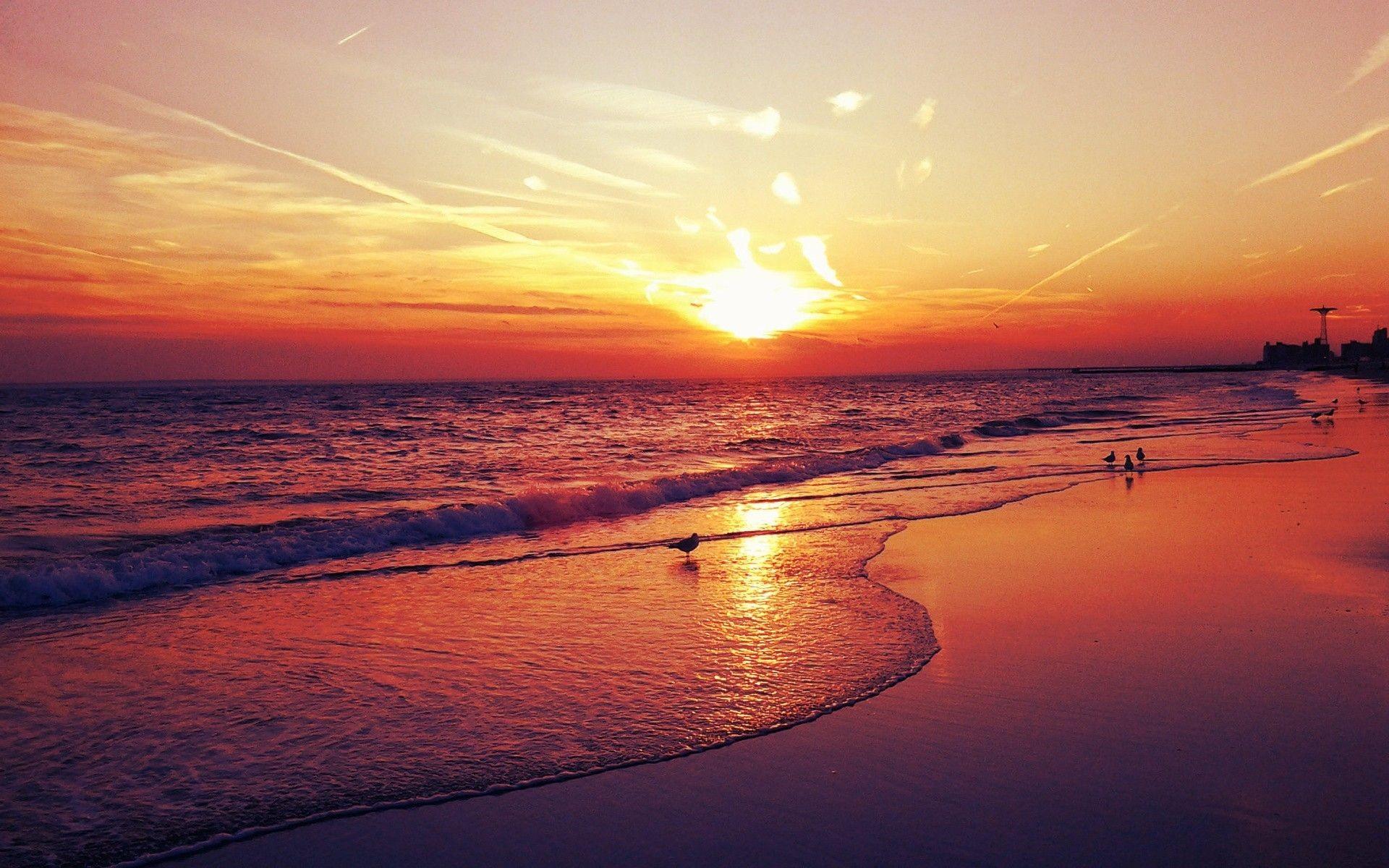 Res: 1920x1200, Beach Sunset wallpaper - 1130998