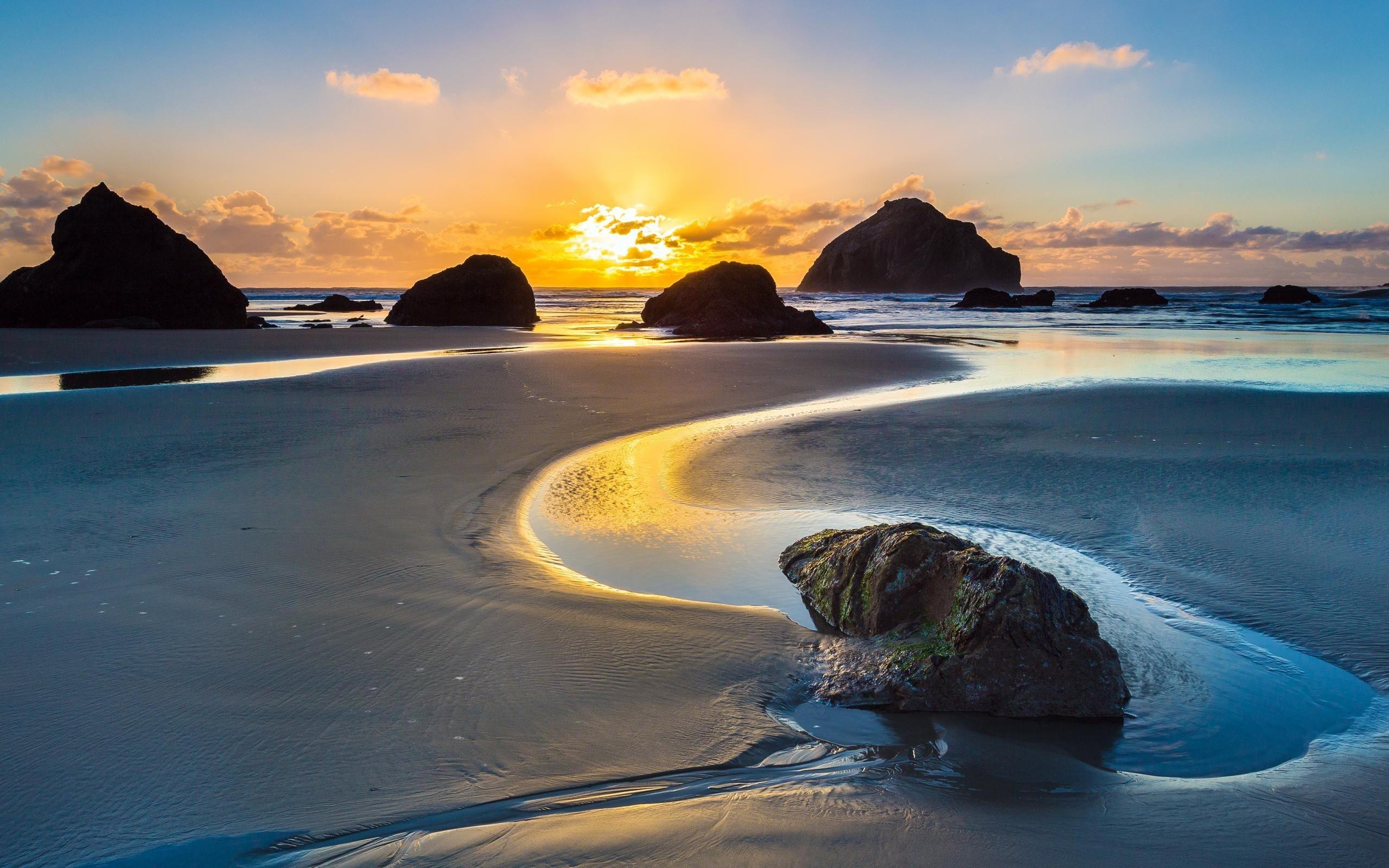 Res: 2560x1600, Sandy Rocky Beach Sunset Wallpaper