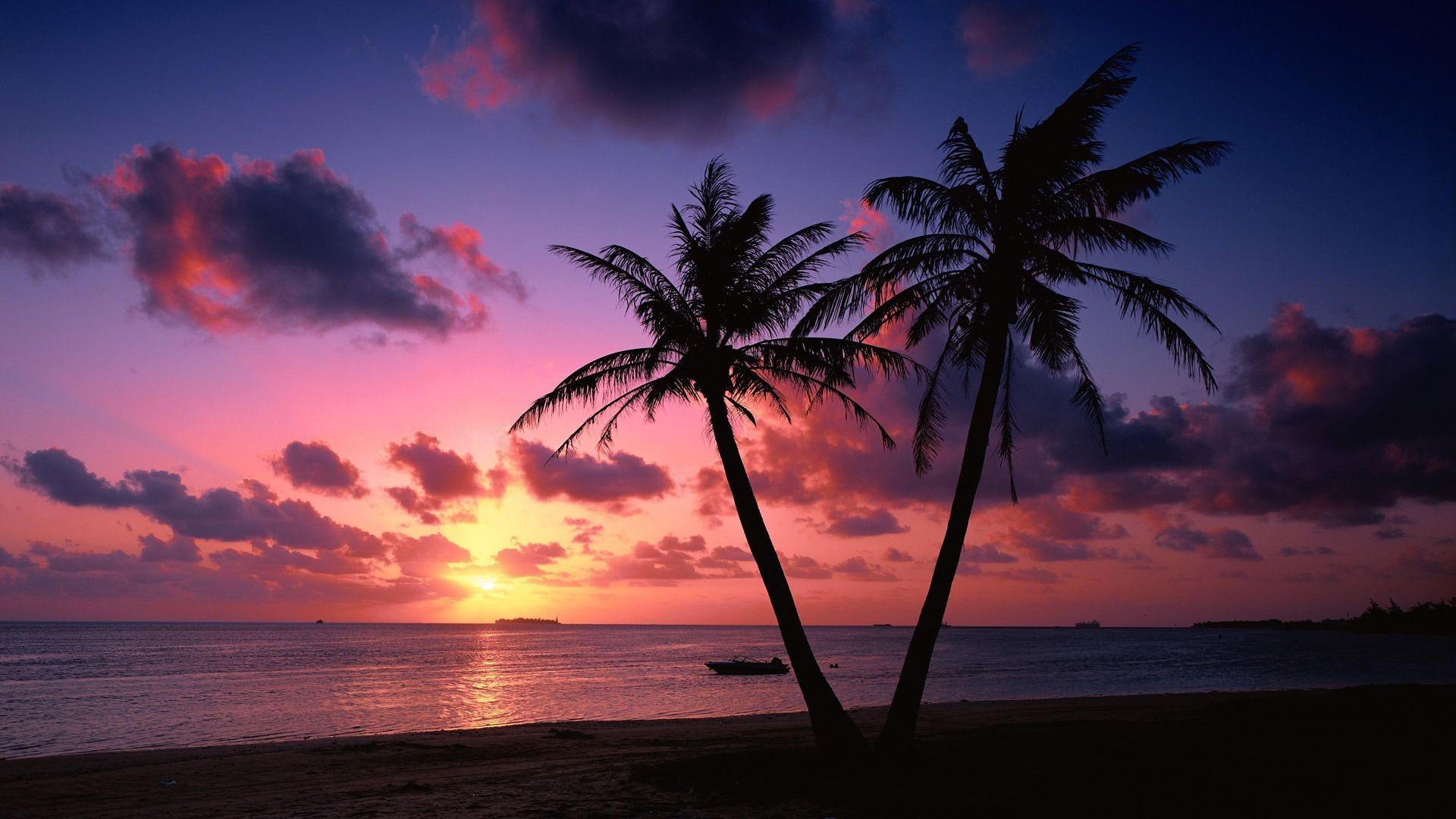 Res: 1920x1080, Tropical Beach Sunset wallpaper - 1343376