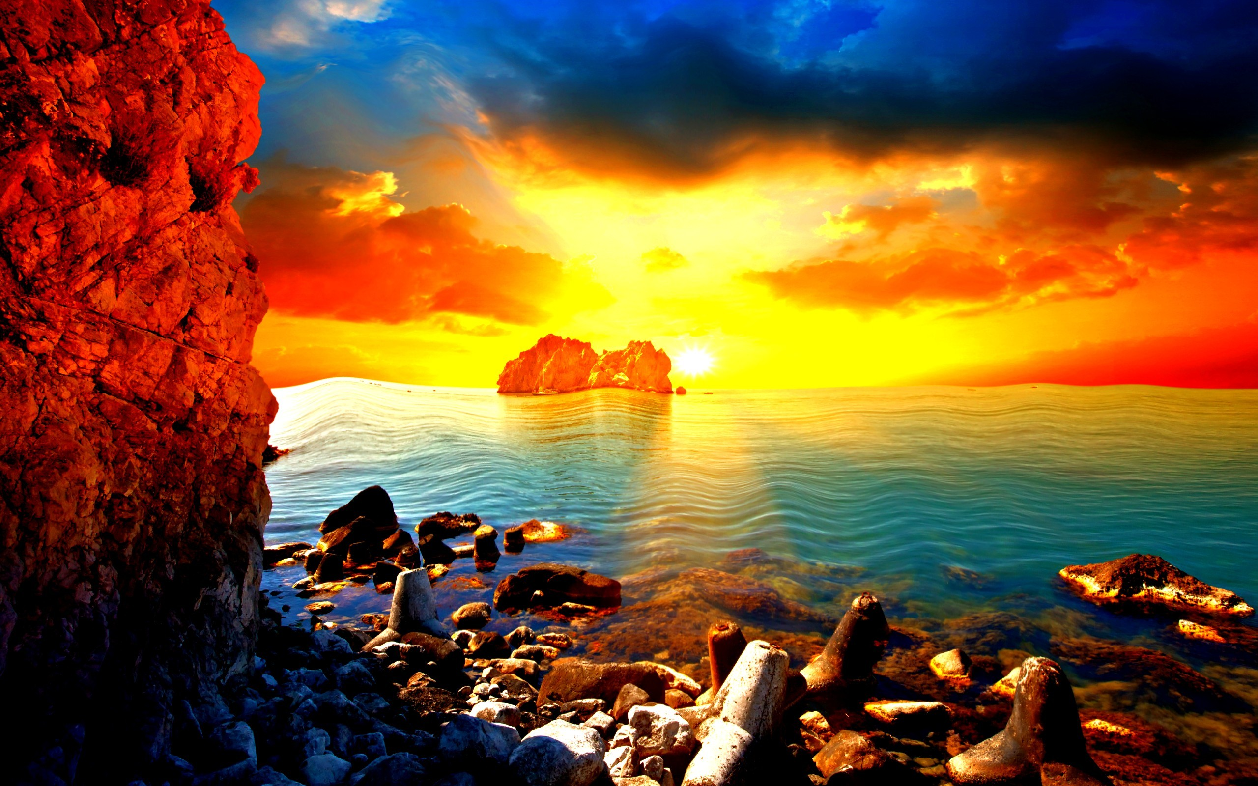 Res: 2560x1600, Crazy Beach Sunset Wallpaper