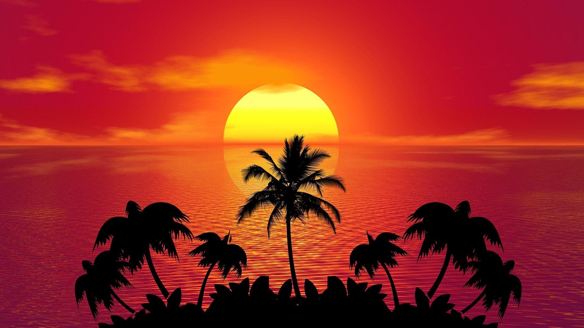 Res: 1920x1080, Summer Beach Sunset Art Wallpaper