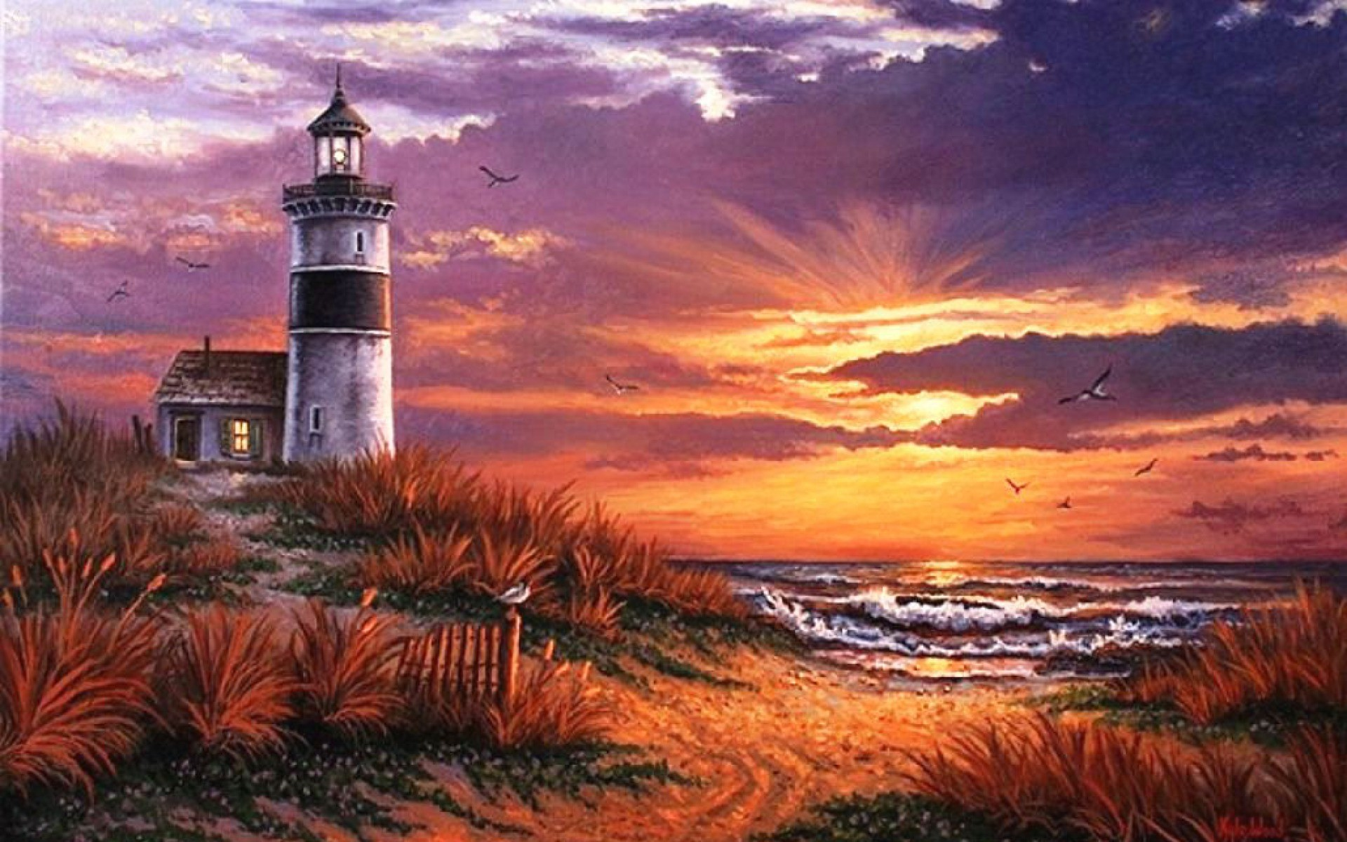 Res: 1920x1200, Image: Ocean Light House Beach Sunset wallpapers and stock photos. Â«